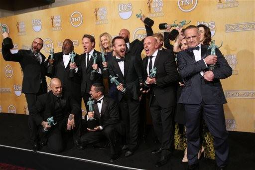 "The cast of ""Breaking Bad"" celebrates the win for outstanding performance by an ensemble in a drama series."