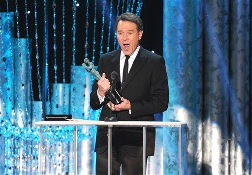 "Bryan Cranston accepts his actor for best actor in ""Breaking Bad."""