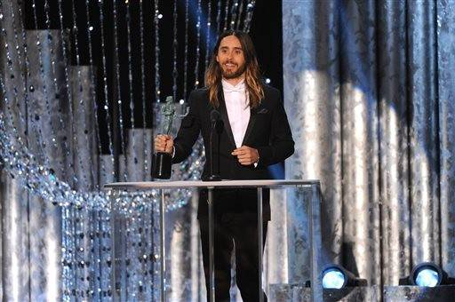 "Jared Leto accepts his award for his work in ""Dallas Buyers Club."""