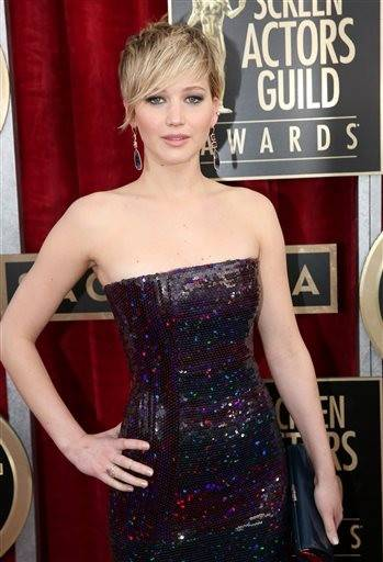Jennifer Lawrence goes for a darker gown this time around with just a little pit of sparkle.