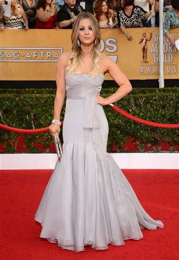 """The Big Bang Theory"" star Kaley Cuoco strikes a pose for photographers on the red carpet."