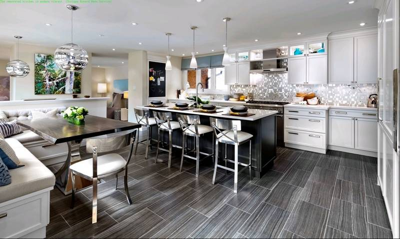 this kitchen renovation started from the ground up with rich gray floor tiles three pendant - Kitchen Lighting Fixtures Over Island