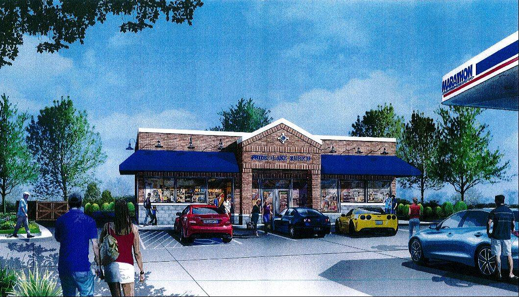 This is an artist's rendering of a 1,600-square-foot convenience store that would replace a kiosk-style structure at the Marathon gasoline station on Rand Road in Lake Zurich.