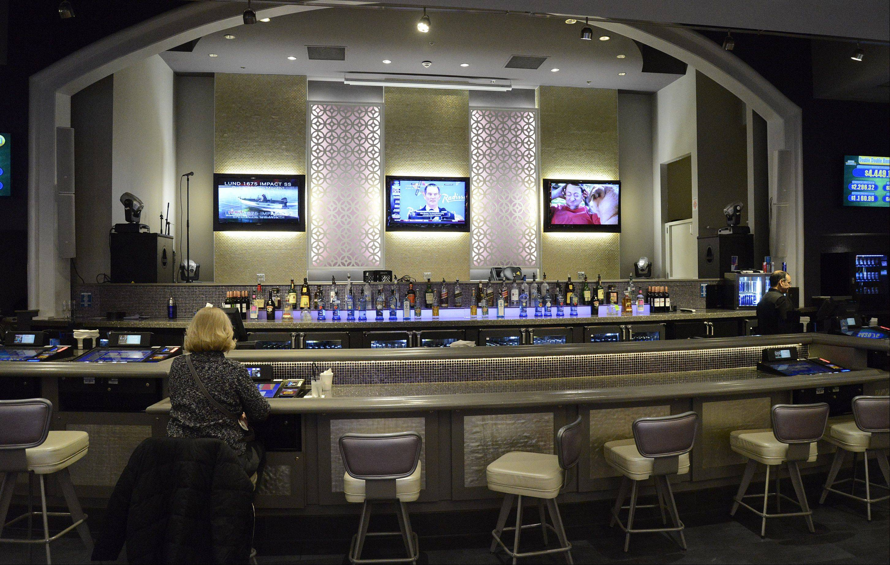 Grand Victoria Casino in Elgin has finished renovations, including to this area, at the rear of the main casino floor, which features a stage for live entertainment as well as a bar.