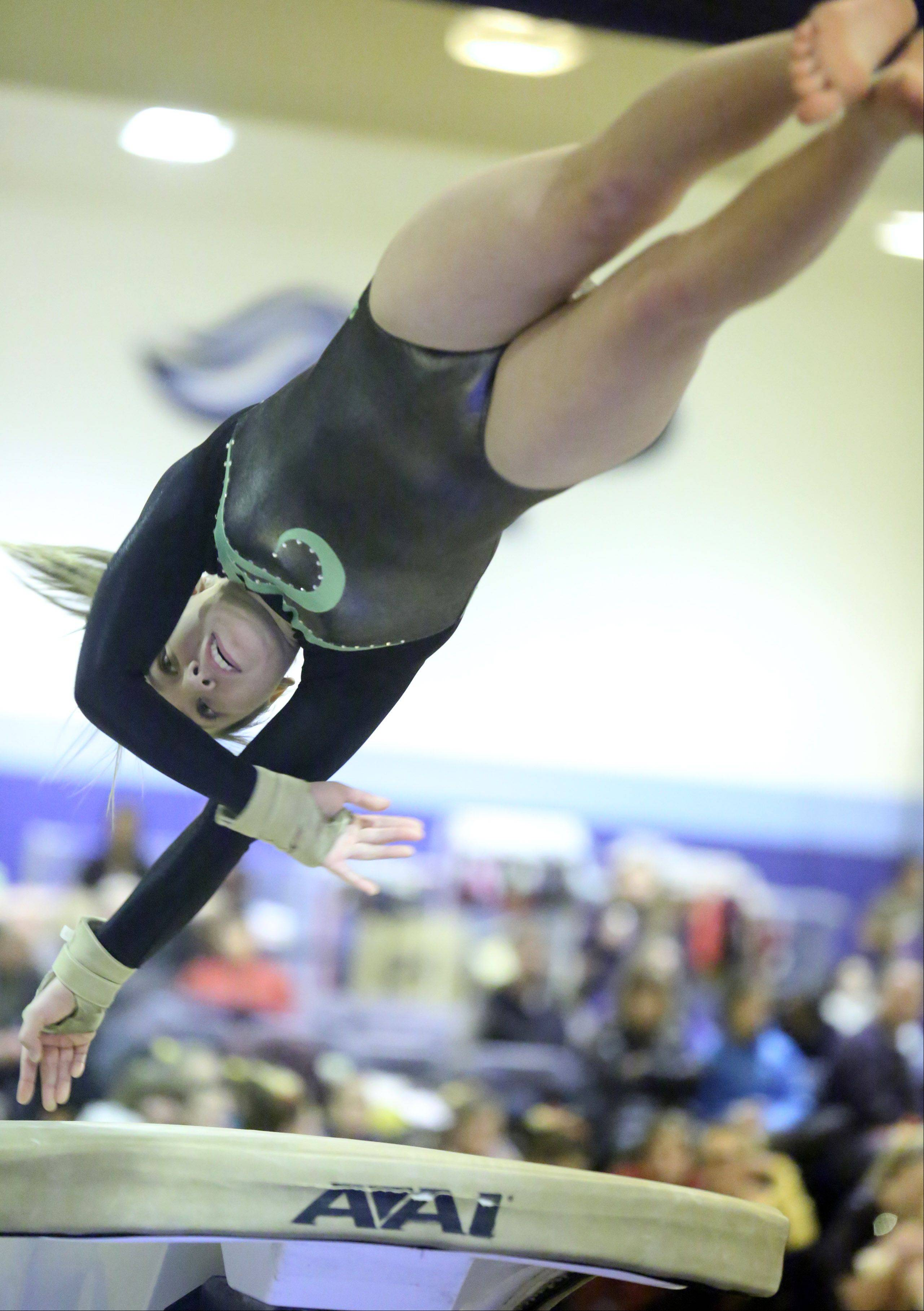 Elk Grove's Anna Bonder competes on vault Saturday at Prospect.