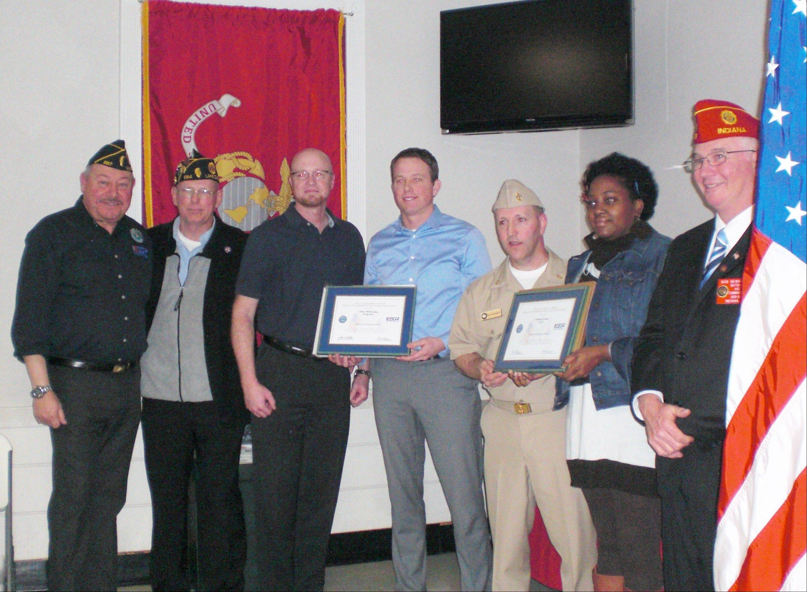 Members of Employer Support of the Guard and Reserve, from left, Stan Villarreal, Mike Peck, Kevin Guyot, John McKenna, Toni Roberti, Shalantha Keys and Robert Newman at the recent American Legion Post 964 meeting.
