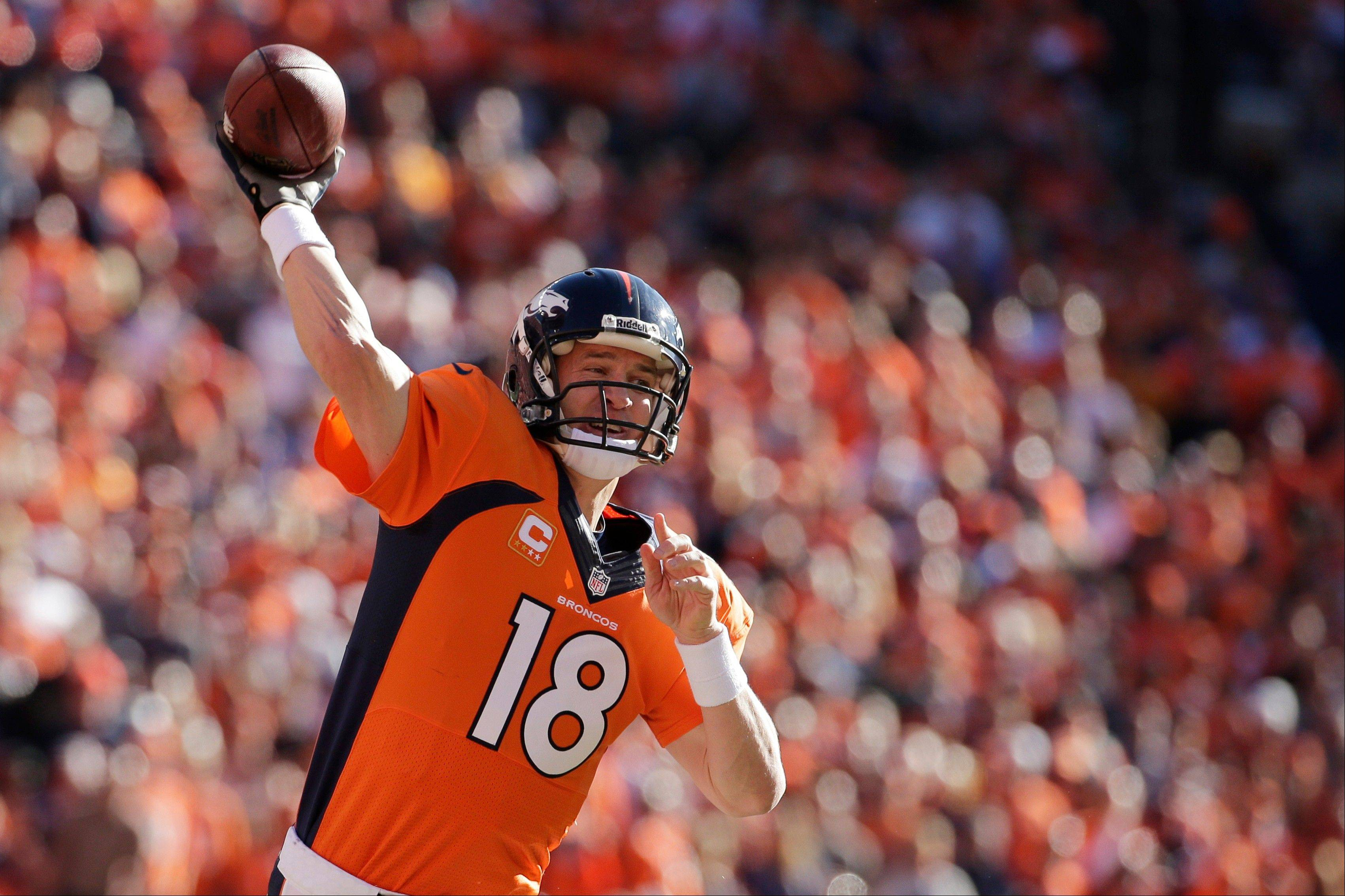 Denver Broncos quarterback Peyton Manning passes the ball during the first half of the AFC Championship NFL playoff football game against the New England Patriots in Denver, Sunday, Jan. 19, 2014.