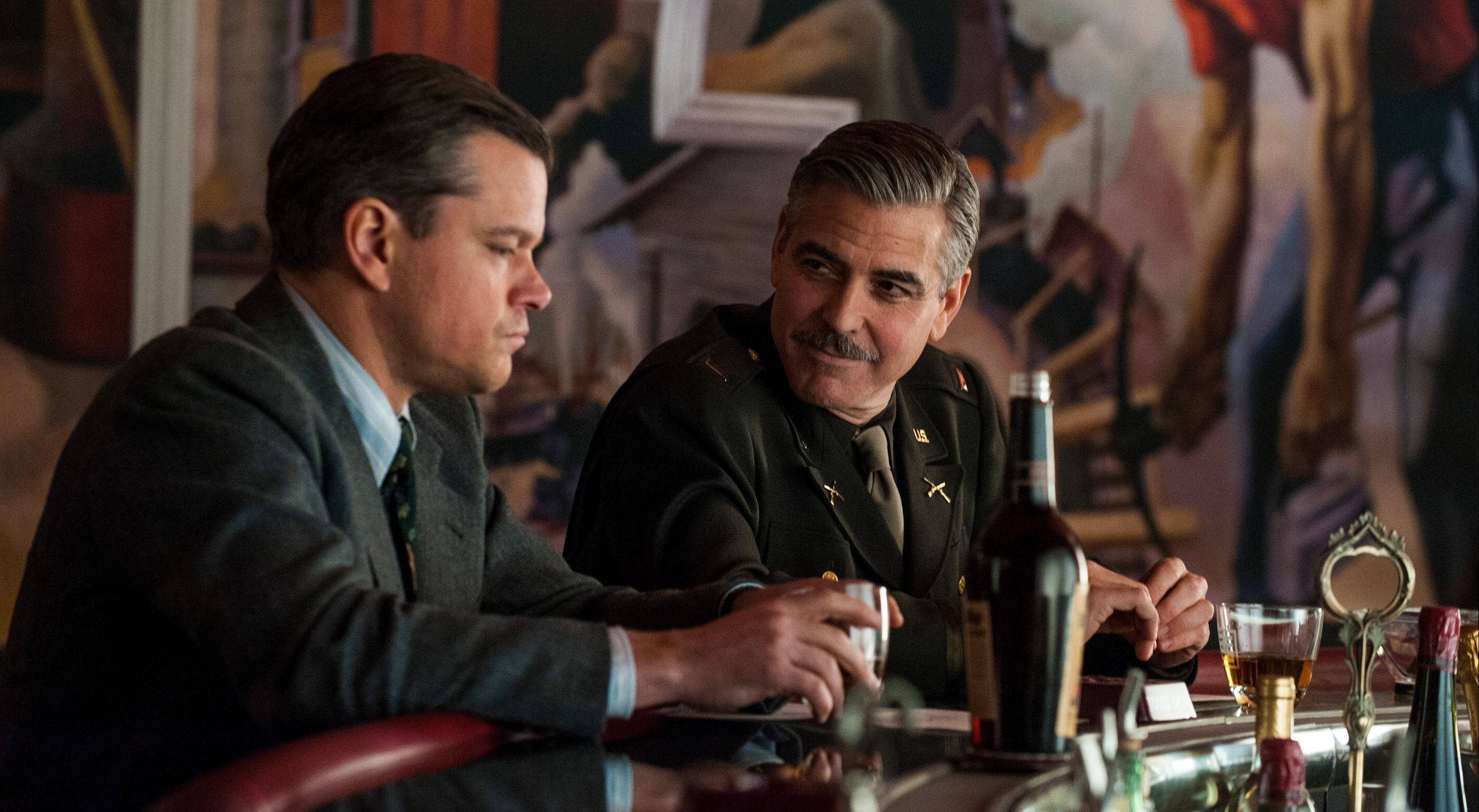 "Matt Damon, left, and George Clooney star in ""The Monuments Men,"" which is set to be released in February."