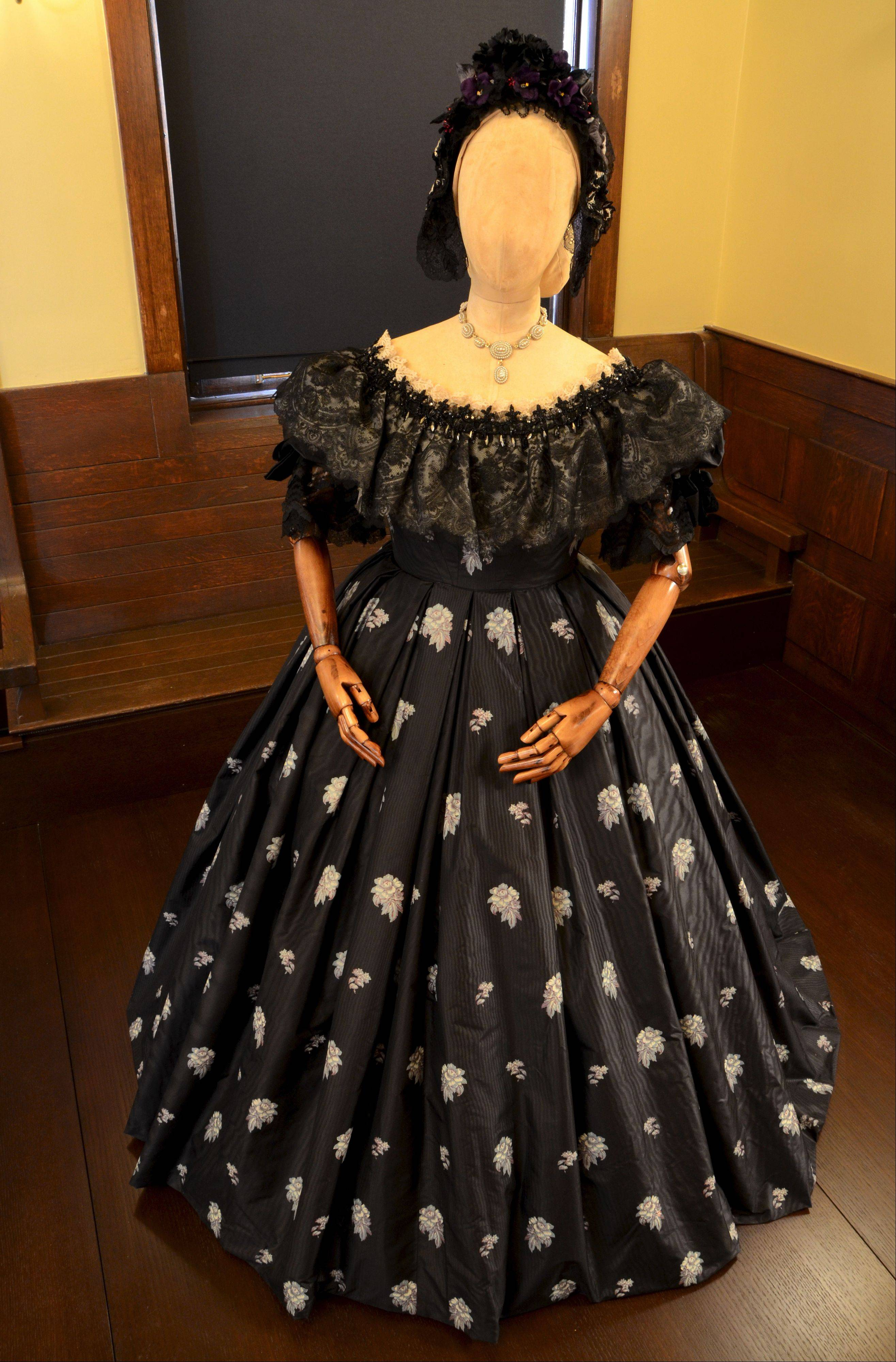 The exhibit includes dresses worn by Sally Field as Mary Todd Lincoln.