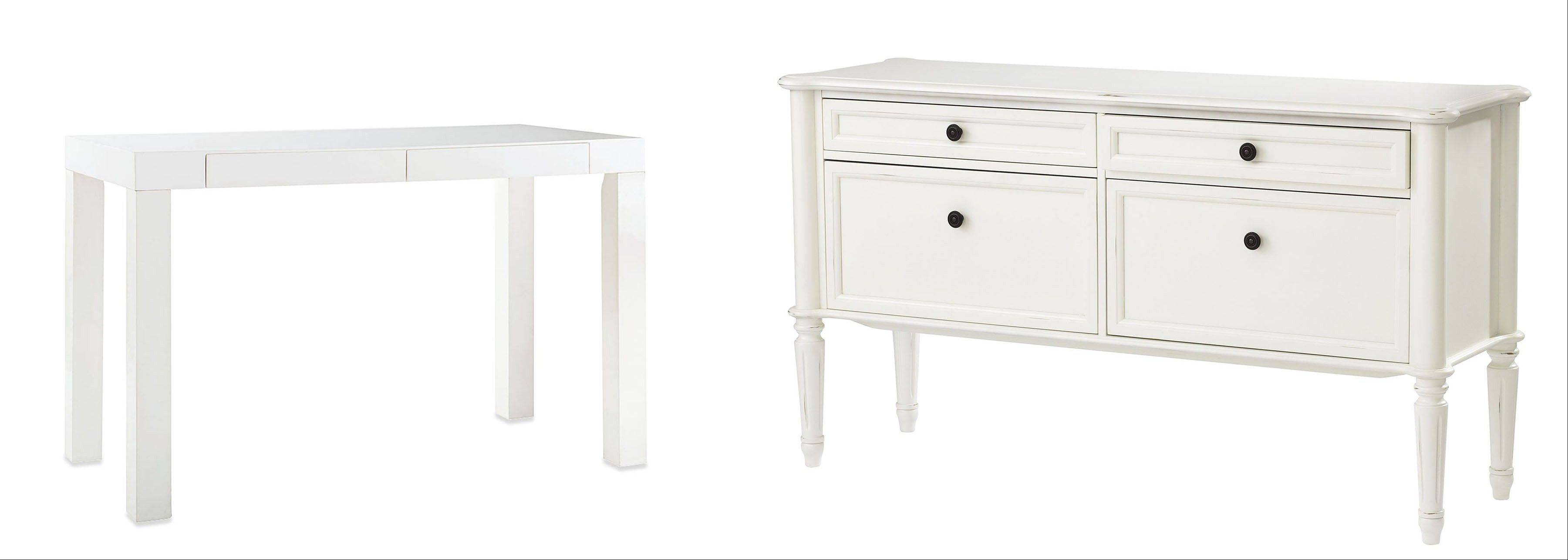 The Parsons Desk in white lacquer, left, from West Elm has really clean lines. Martha Stewart's Ingrid File Console, right, can sit out in plain sight even in the living room.