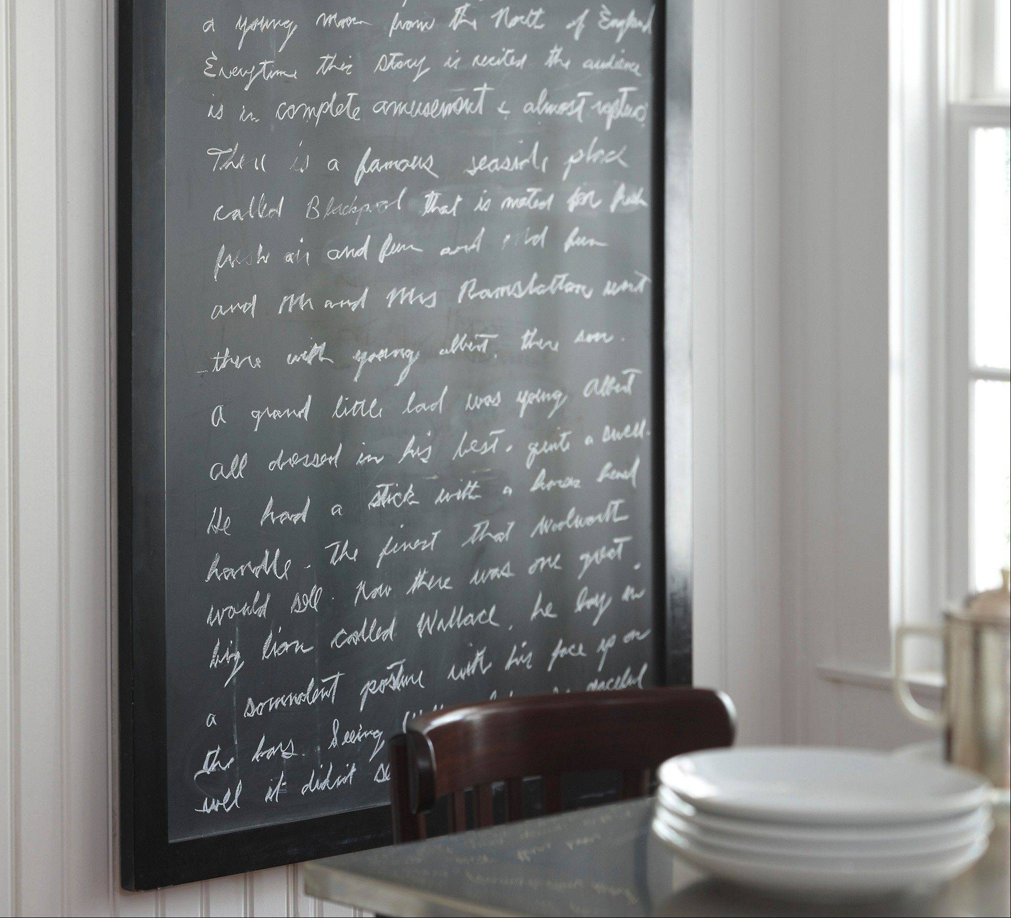 For those who don't want to commit to chalkboard paint in your home office, there's Pottery Barn's Framed Chalkboard.