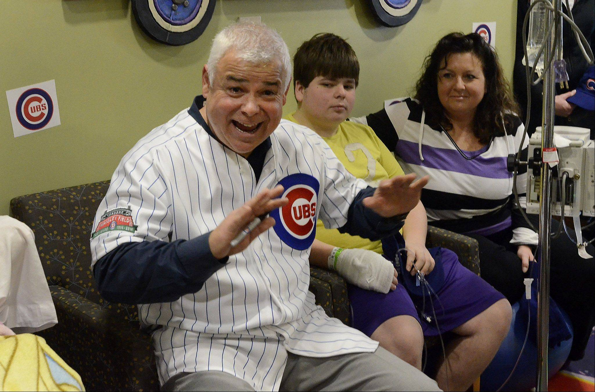 New Chicago Cubs manager Rick Renteria visited with children at Advocate Children's Hospital in Park Ridge Friday.