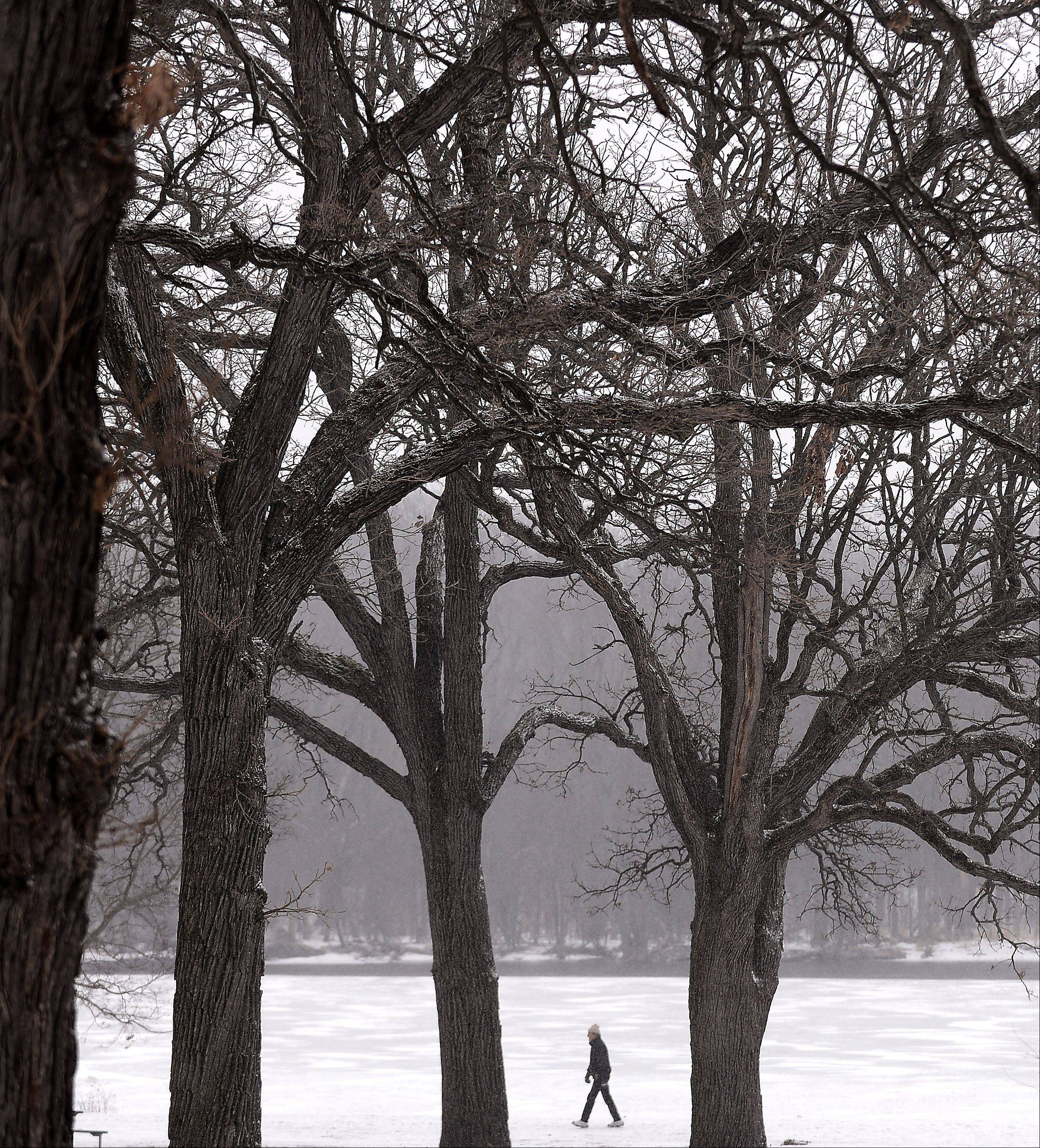 A man walks along the Fox River through the Fabyan Forest Preserve in Geneva Tuesday.