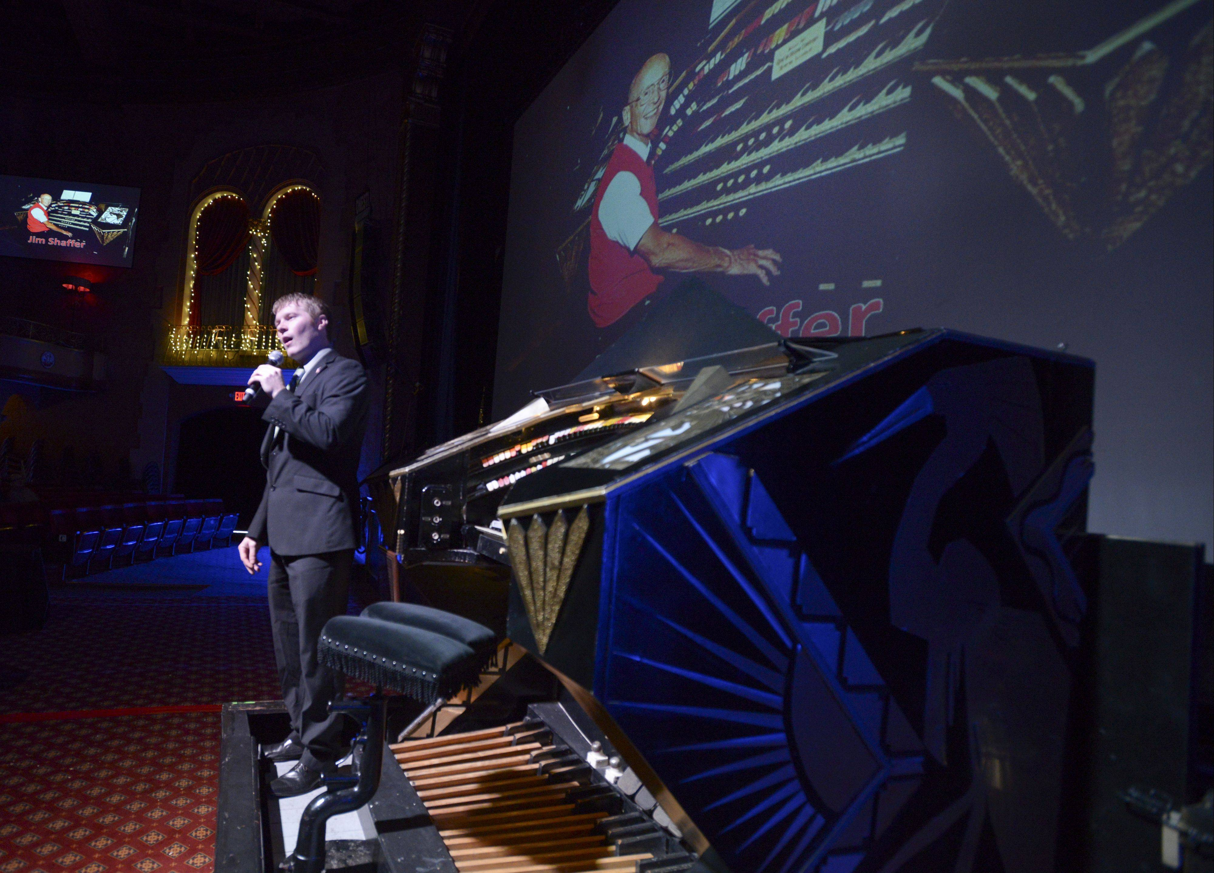 Organist Glenn Tallar speaks about Jim Shaffer before playing the organ during the tribute to Shaffer at the Arcada Theatre. Shaffer, the theater's longtime organist, died in November at 78.
