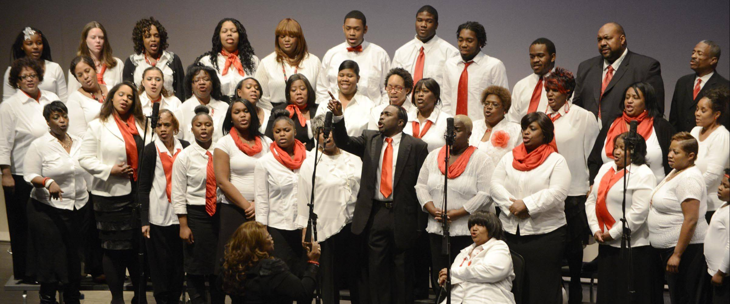 The Elgin Community Choir performs Sunday during the 29th Annual Dr. Martin Luther King Jr. program at the Hemmens Auditorium in Elgin.