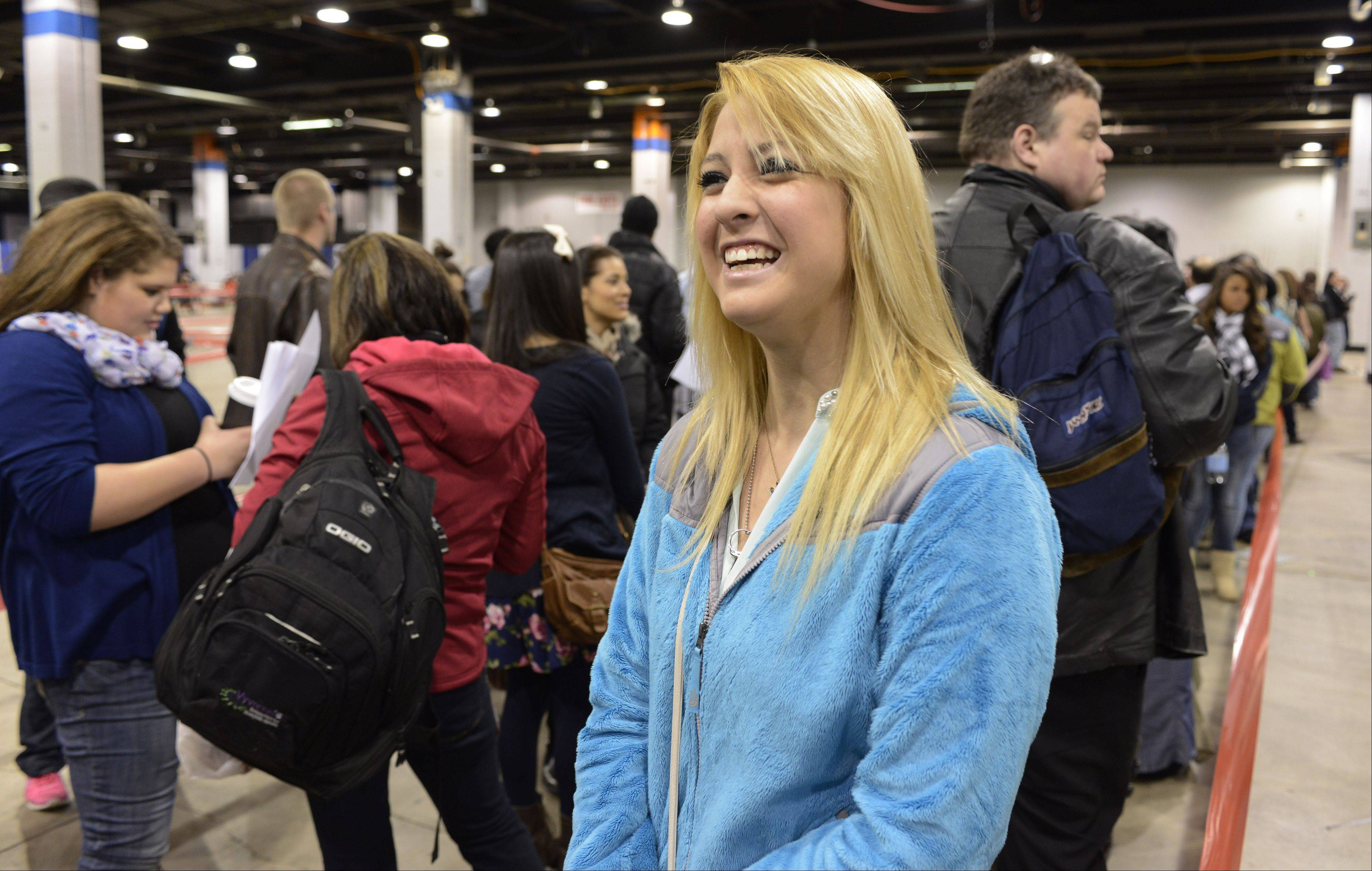 "Maria Sanchez of Oswego waits in line prior to auditioning Sunday for the TV show ""The Voice"" at the Stephens Convention Center in Rosemont. Sanchez, a senior at Oswego High School, planned to sing ""Let It Go"" by Idina Menzel."
