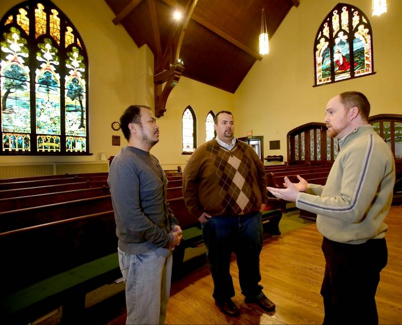 Same sex couples prepare for religious wedding ceremonies jovi tomaneng left and john stilp center of naperville discuss wedding plans publicscrutiny Gallery