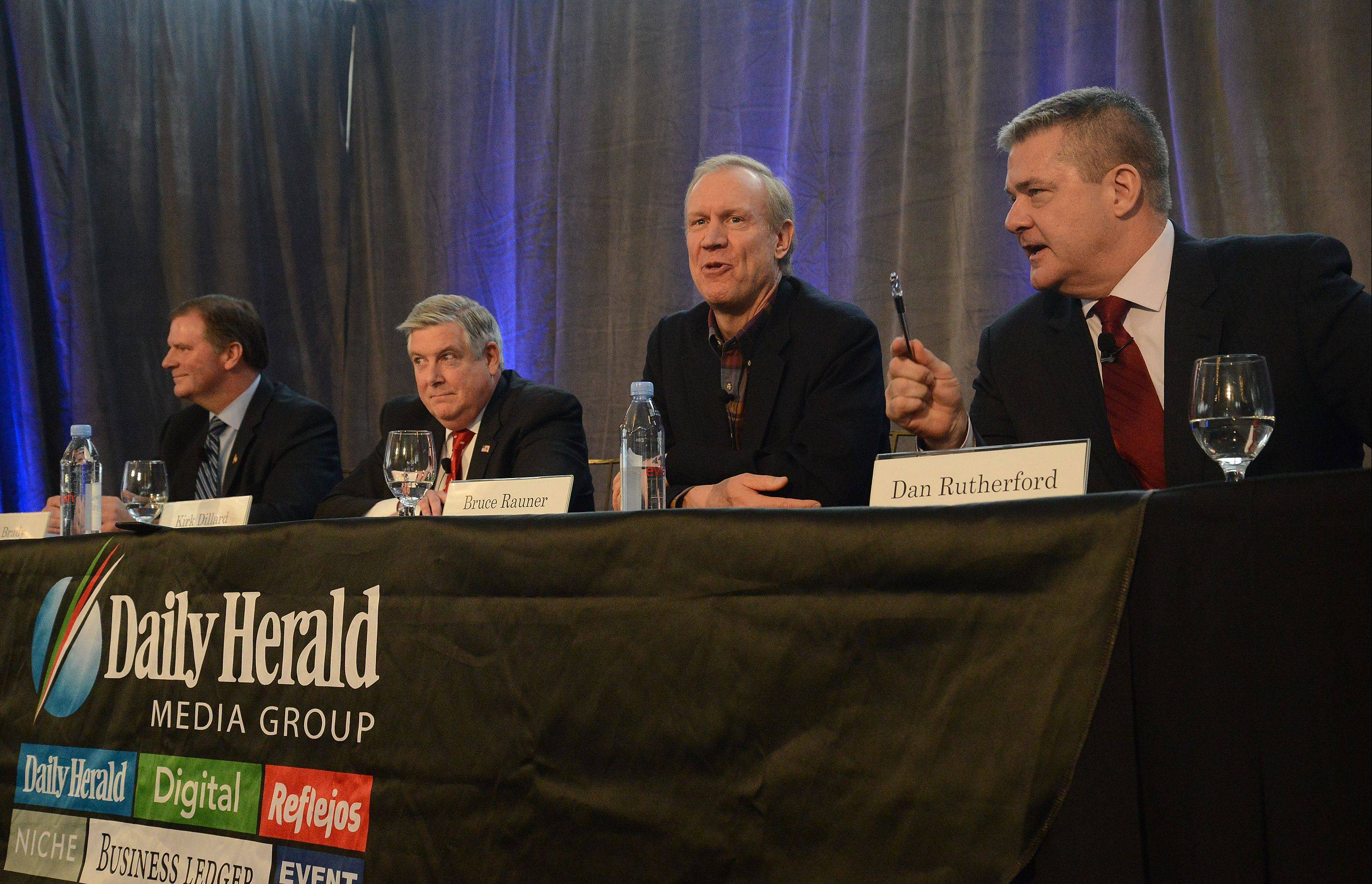 GOP gubernatorial candidates, from left, state Sen. Bill Brady, state Sen. Kirk Dillard, Bruce Rauner and Illinois Treasurer Dan Rutherford met last week in a candidate forum in Mount Prospect.