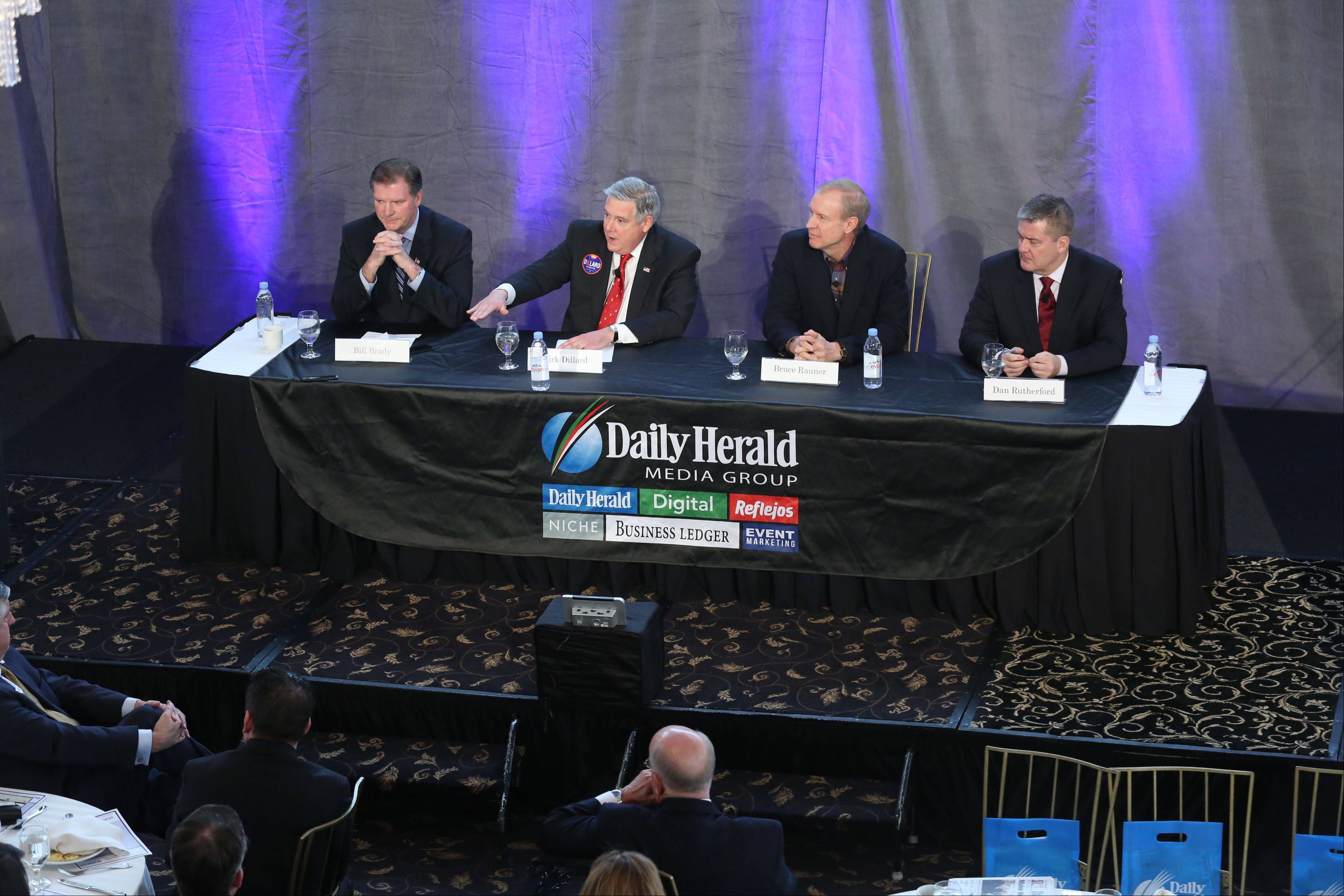 GOP gubernatorial candidates, from left, state Sen. Bill Brady, state Sen. Kirk Dillard, Bruce Rauner and Illinois Treasurer Dan Rutherford met last week in a candidate forum sponsored by the Daily Herald, ABC 7 and the Daily Herald Business Ledger.