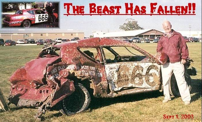 "A man used to putting his ideas into action, Robert E. Griffith of Arlington Heights was a 66-year-old grandfather when he entered his first demolition derby. Adding a 6 to his age and dubbing his 666 car ""The Beast,"" Griffith ended his demolition derby career at age 69 in much better condition than his car."