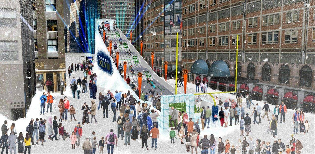 "This artist's rendering proposes a toboggan slide be set up in Times Square in New York. A stretch of Broadway from 34th Street to 48th will be closed to traffic, renamed ""Super Bowl Boulevard,"" and converted into a rollicking theme park, merchandise shop and concert venue."