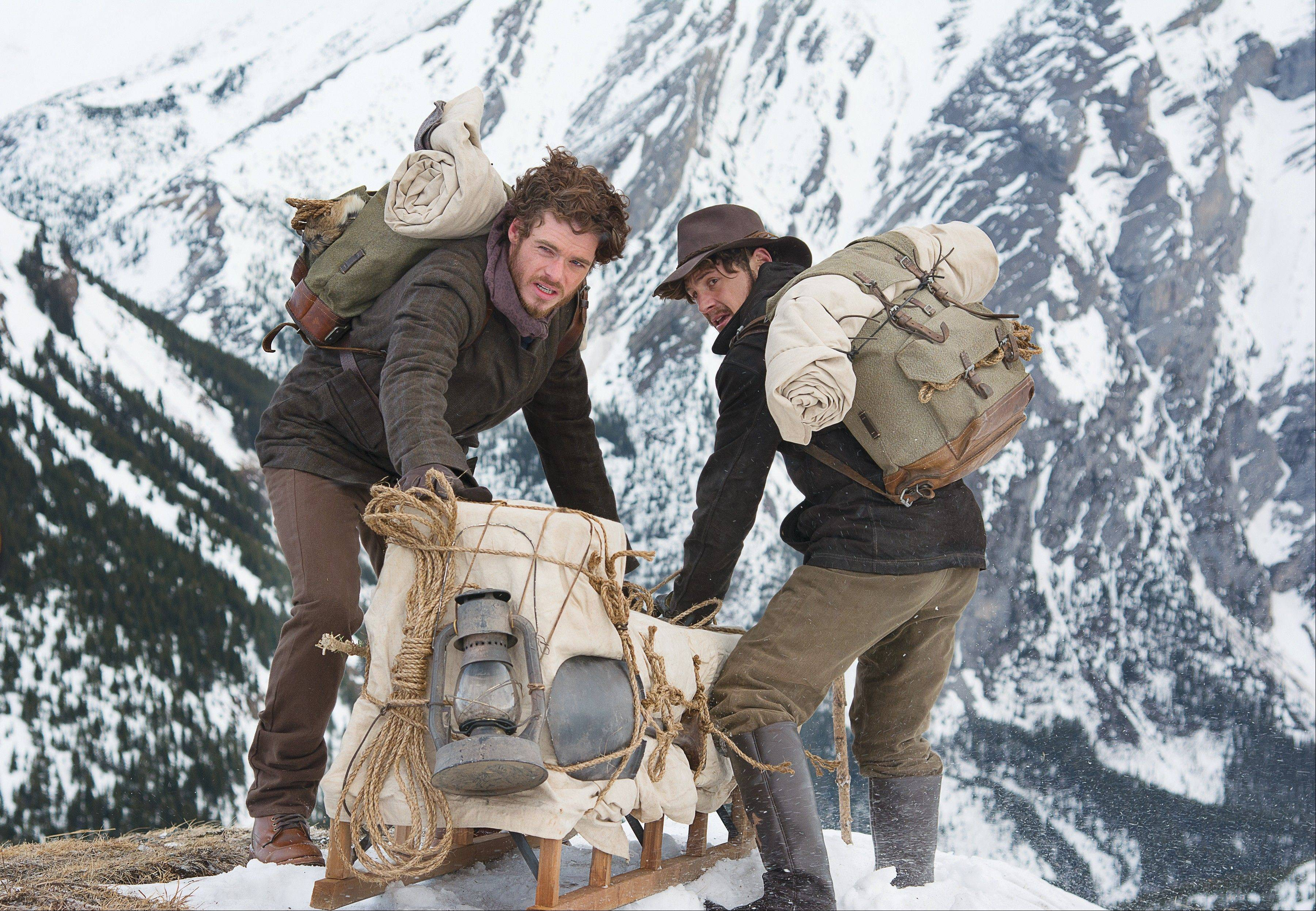 "Bill Haskell (Richard Madden), left, and Byron Epstein (Augustus Prew) seek adventure and gold in the Discovery Channel miniseries ""Klondike."""