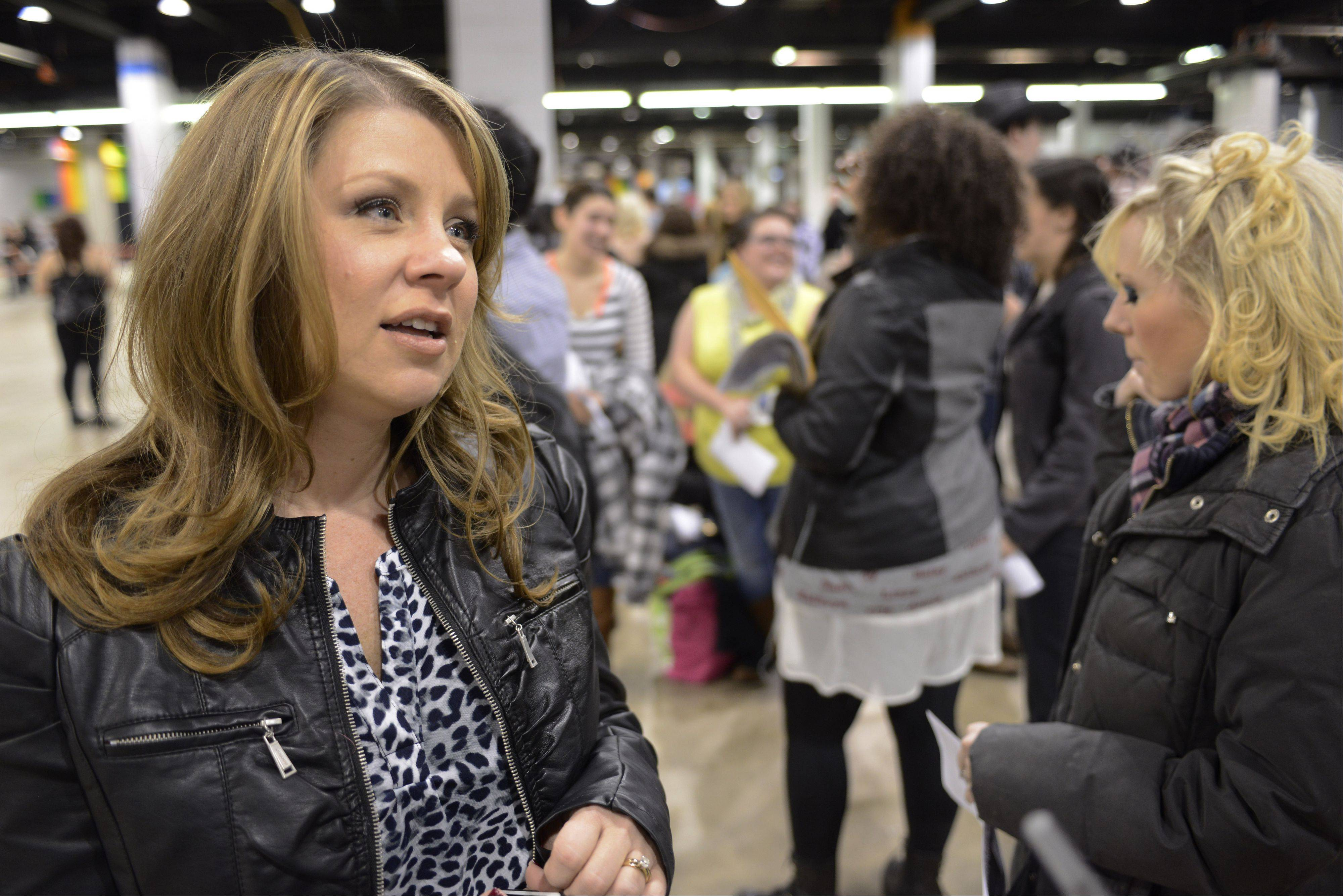 "Camille Eiseman of Crystal Lake waits in line Sunday before auditioning for the TV show ""The Voice"" at the Stephens Convention Center in Rosemont."
