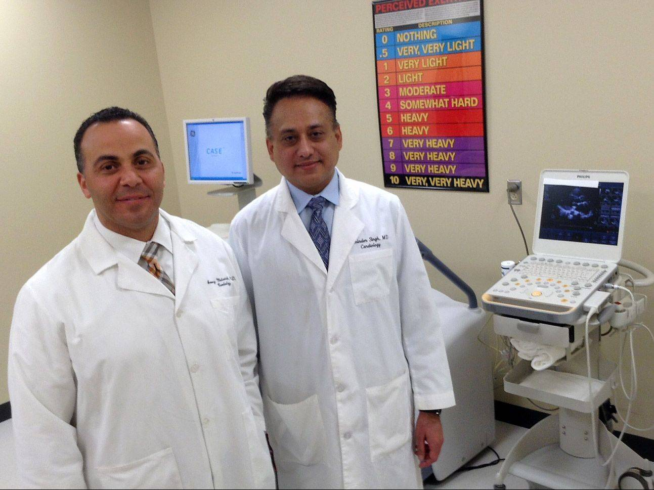 Advocate Sherman Hospital in Elgin is the only hospital in Illinois selected for the American College of Cardiology's new patient navigator program. Pictured here are Dr. Azmey A. Matarieh, medical director of acute myocardial infarction, left, and Dr. Raminder P. Singh, medical director of congestive heart failure.