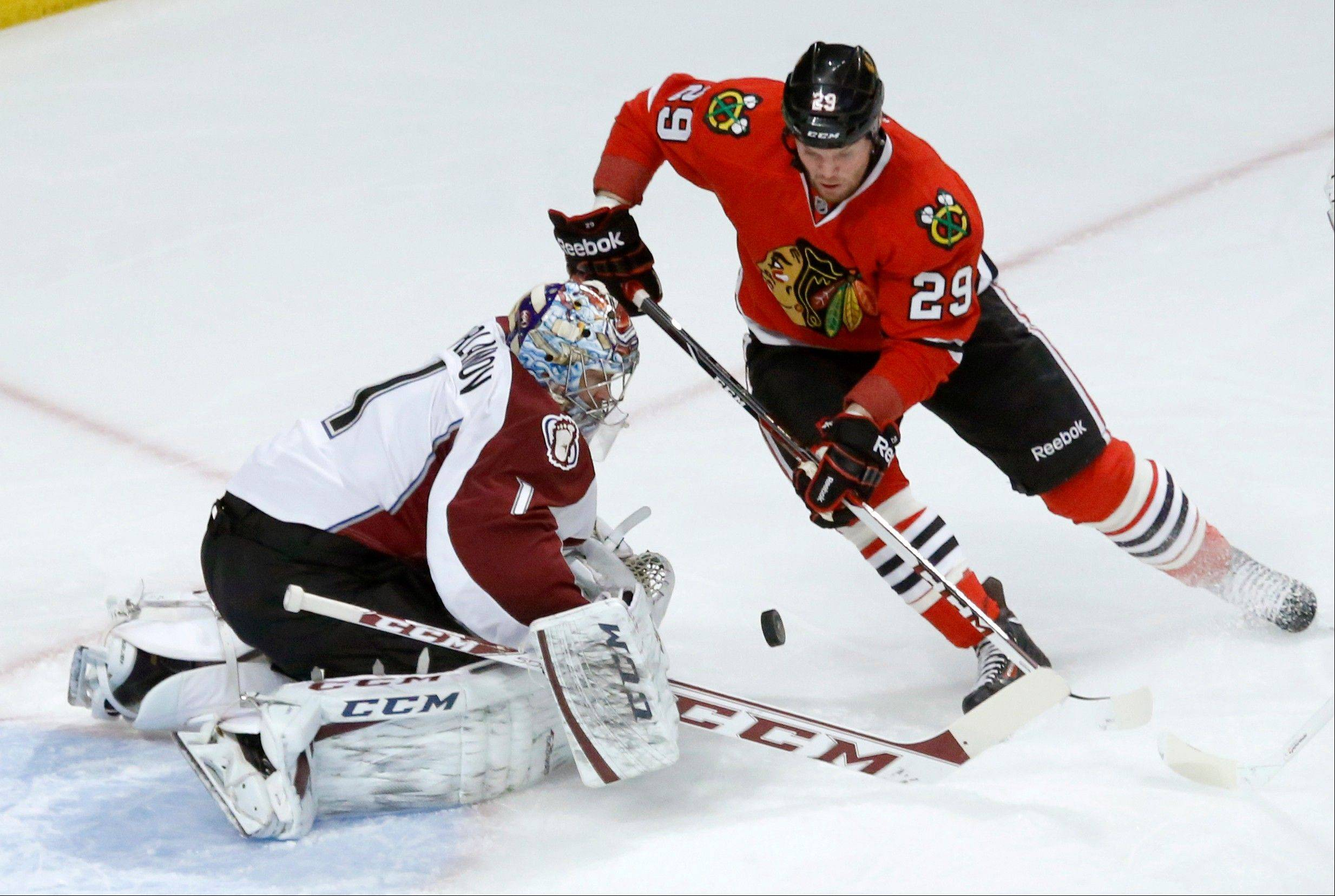 Bryan Bickell, stopped here by Colorado�s Semyon Varlamov last week, has only 2 goals in his last 15 games.