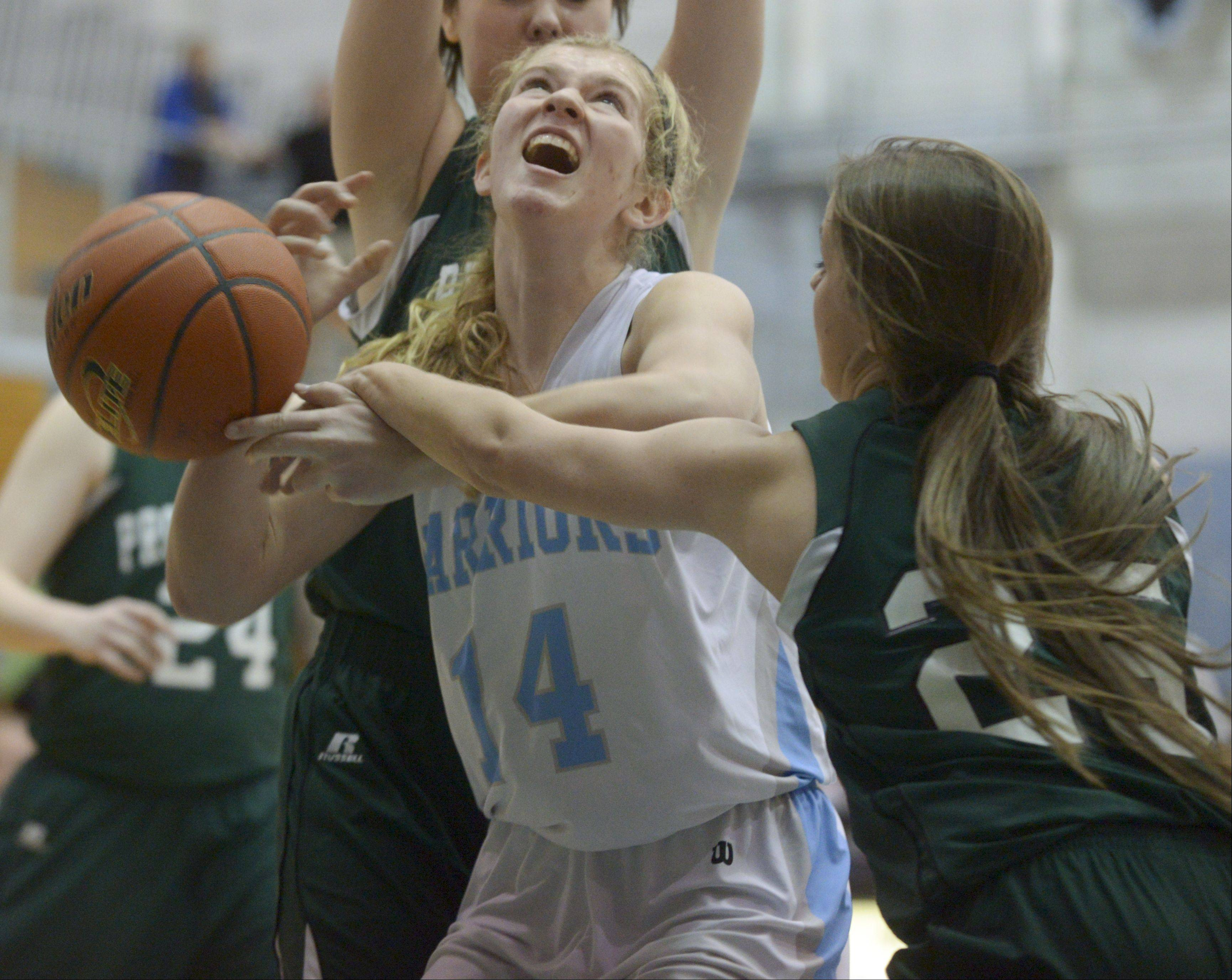 Willowbrook�s Lauren Carroll has her shot blocked by Providence�s Anne Corso during the McDonald�s girls basketball shootout at Willowbrook High School.