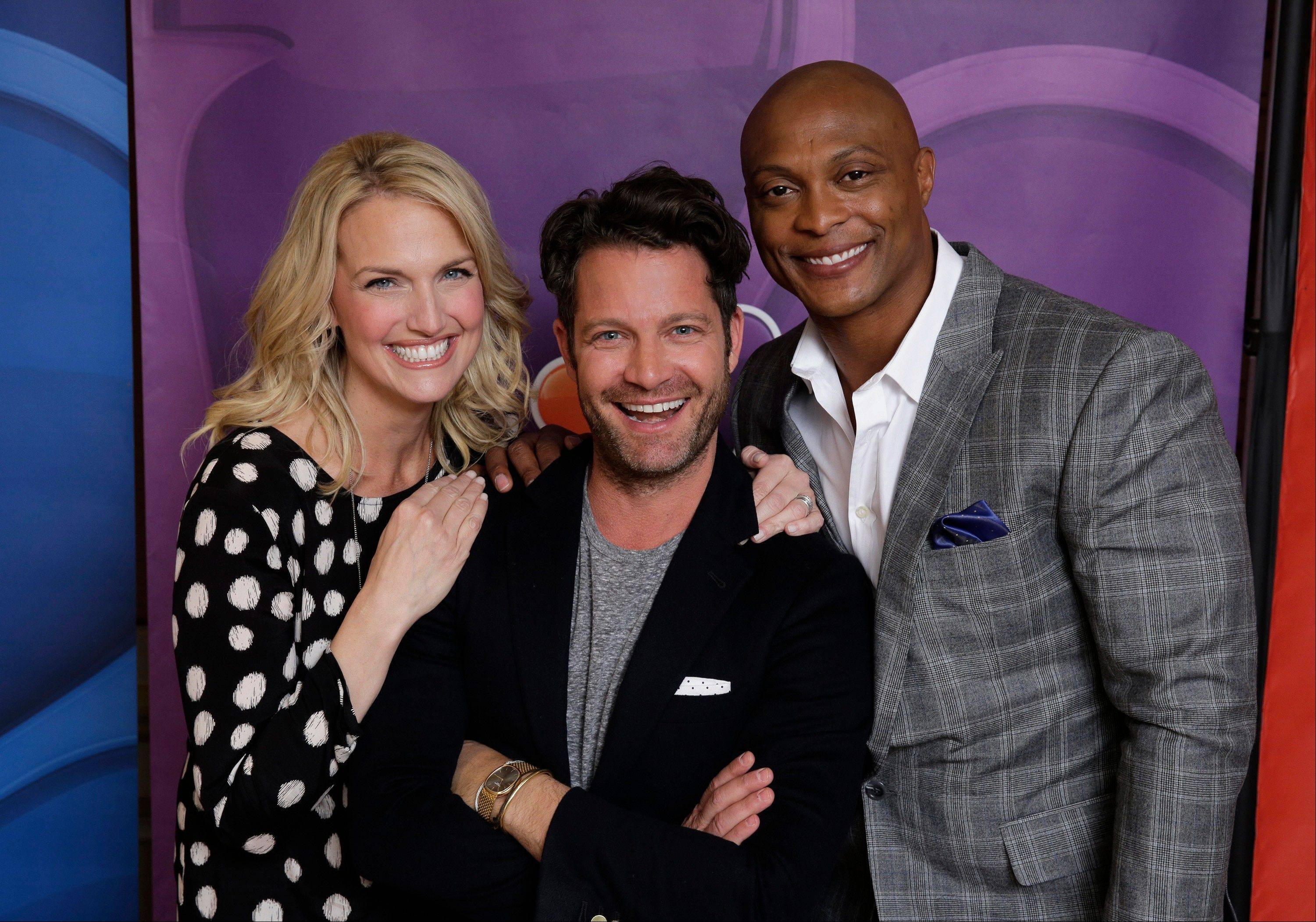 "This Jan. 19, 2014 photo shows, from left, Monica Pederson,, Nate Berkus, and Eddie George from ""American Dream Builders"" at the NBCUniversal Press Tour, in Pasadena, Calif. George, a former NFL player, is turning a critical eye to home building and design as a judge on a new reality television show. He joins designer Berkus and interior decorator Pedersen on ""American Dream Builders"" debuting March 23 on NBC."
