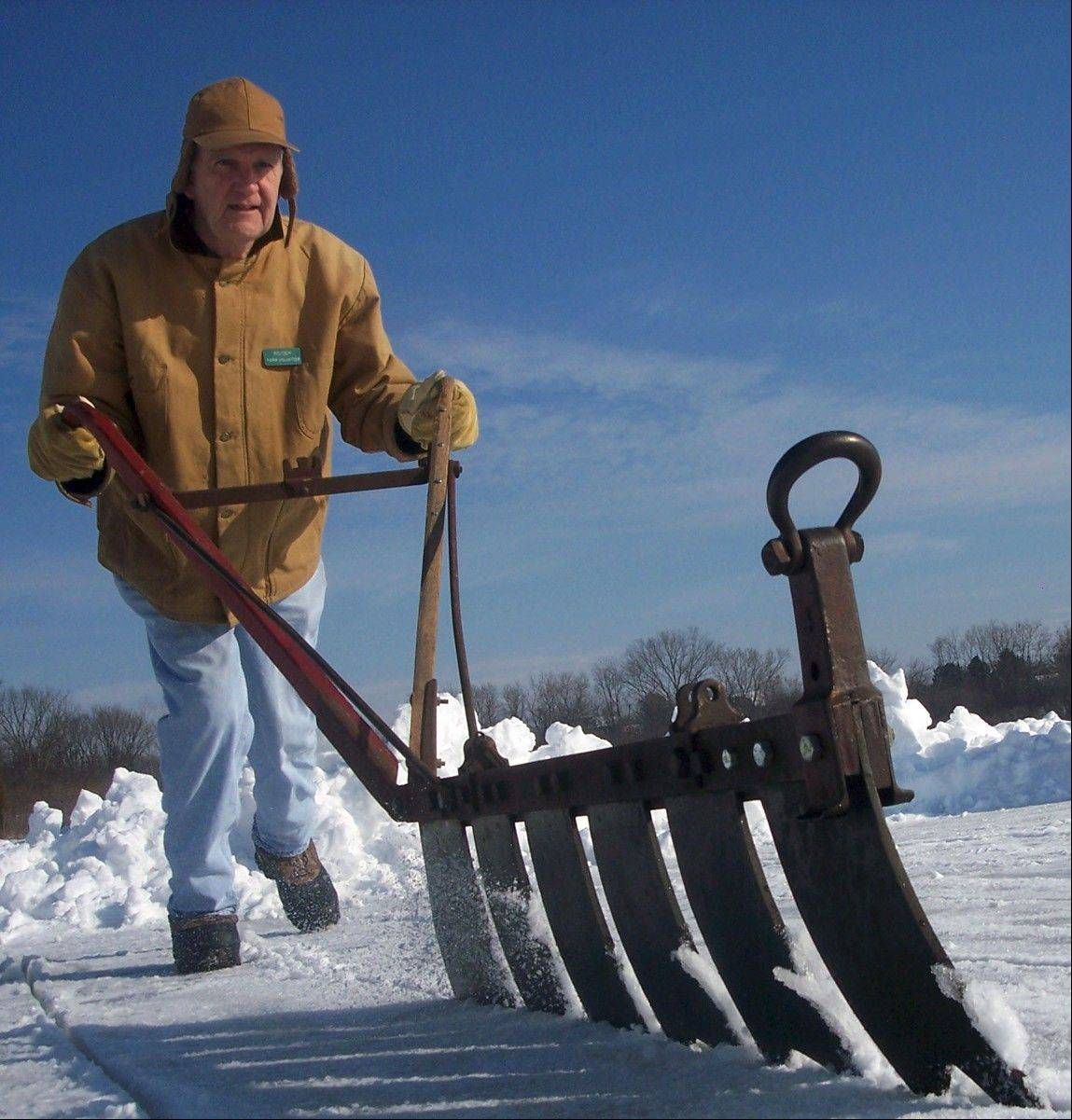"Visitors can learn how 1800s farmers scored out ice blocks from water in the annual ""Ice Harvest"" at West Chicago's Kline Creek Farm."