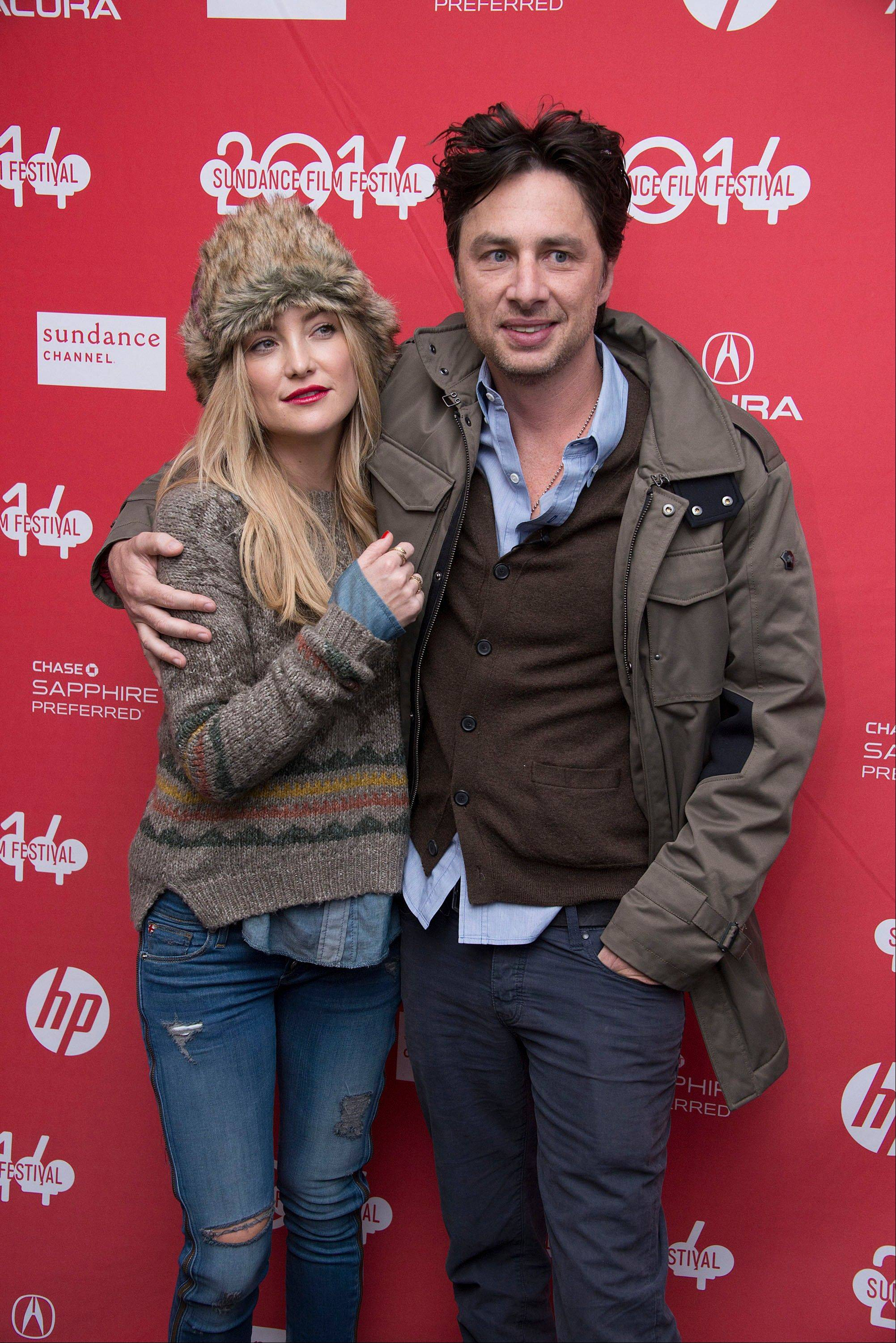 "Actress Kate Hudson supports good friend Director/Co-Writer Zach Braff at the premiere of his film ""Wish I Was Here"" during the 2014 Sundance Film Festival Saturday."