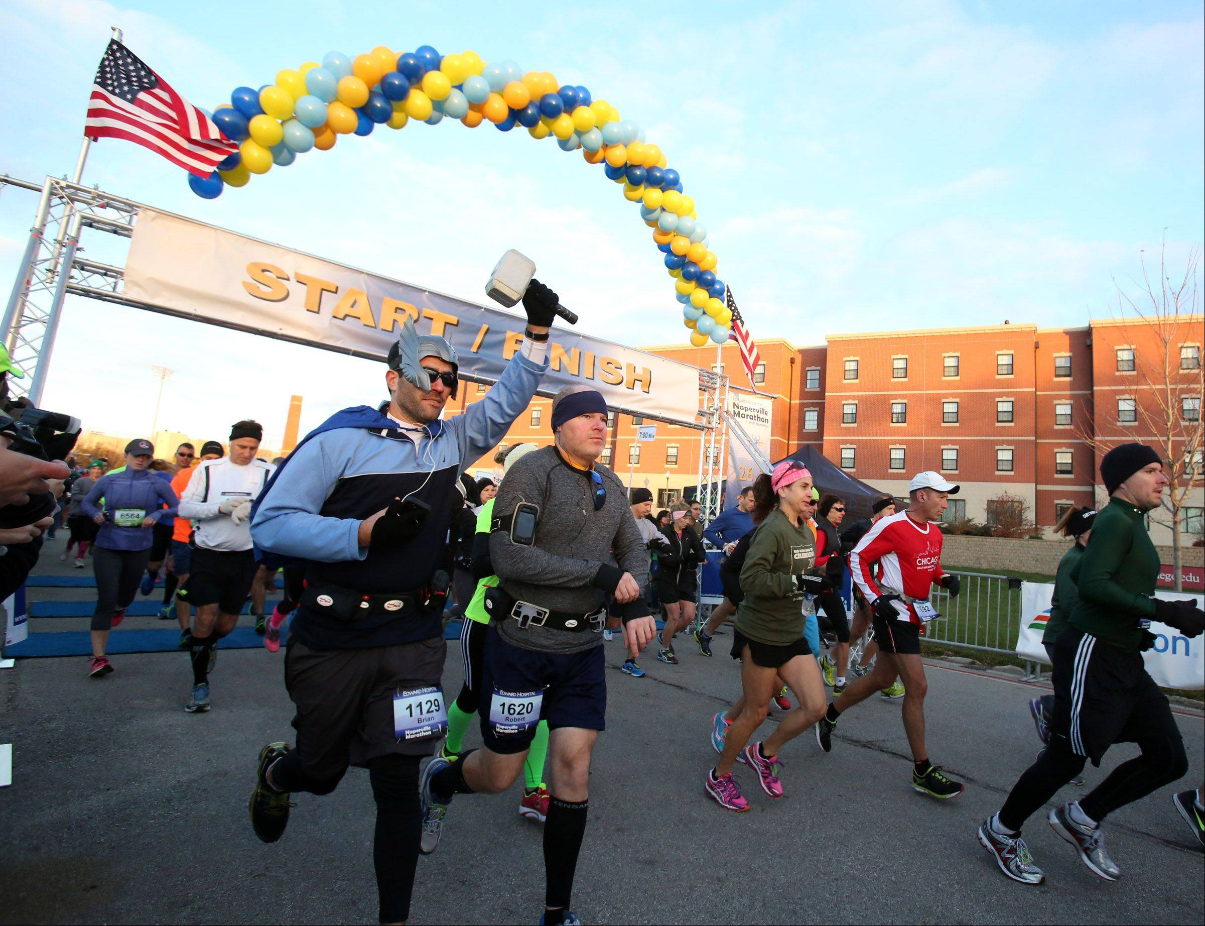 The start/finish line for the second running of the Edward Hospital Naperville Marathon and Half Marathon, scheduled for Sunday, Nov. 9, will be at a different location than the spot where the first race began and ended at North Central College.