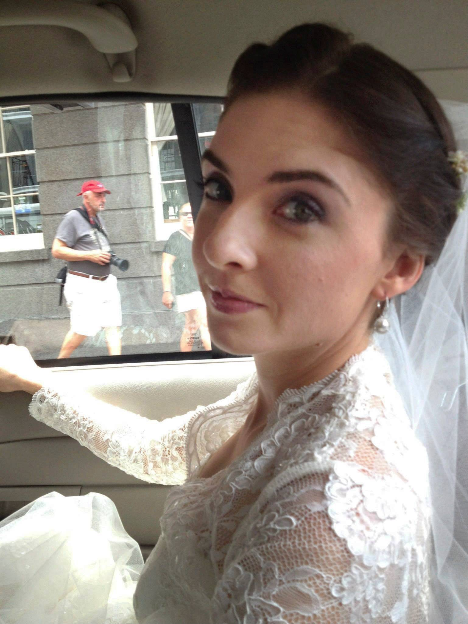 Shannon Winter rides a taxi to her wedding in New Orleans after her limousine failed to arrive last Oct. 12.