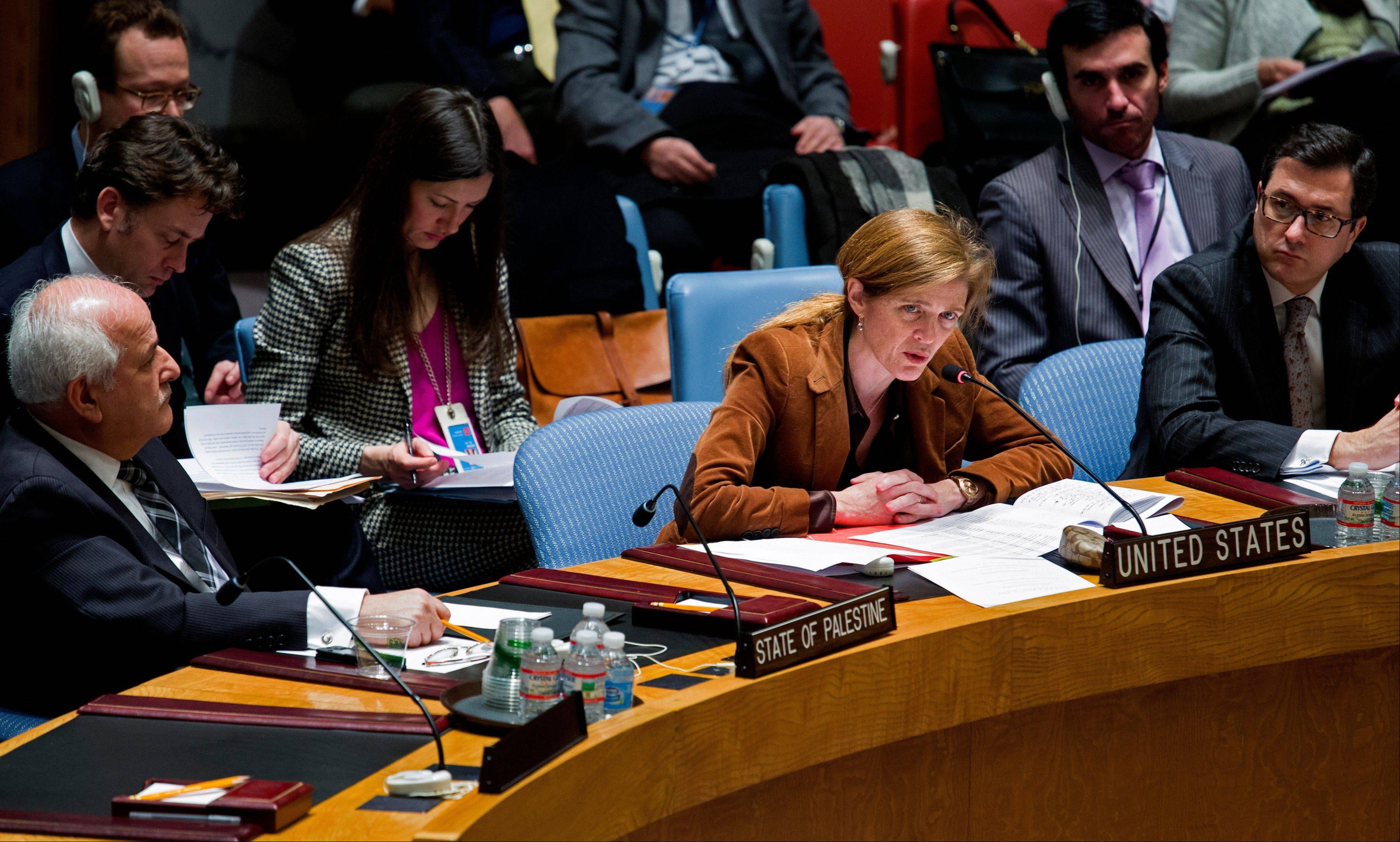 United Nations Ambassador from the Unites States Samantha Power addresses the Security Council at U.N. headquarters Monday on the situation in Syria and the Middle East.