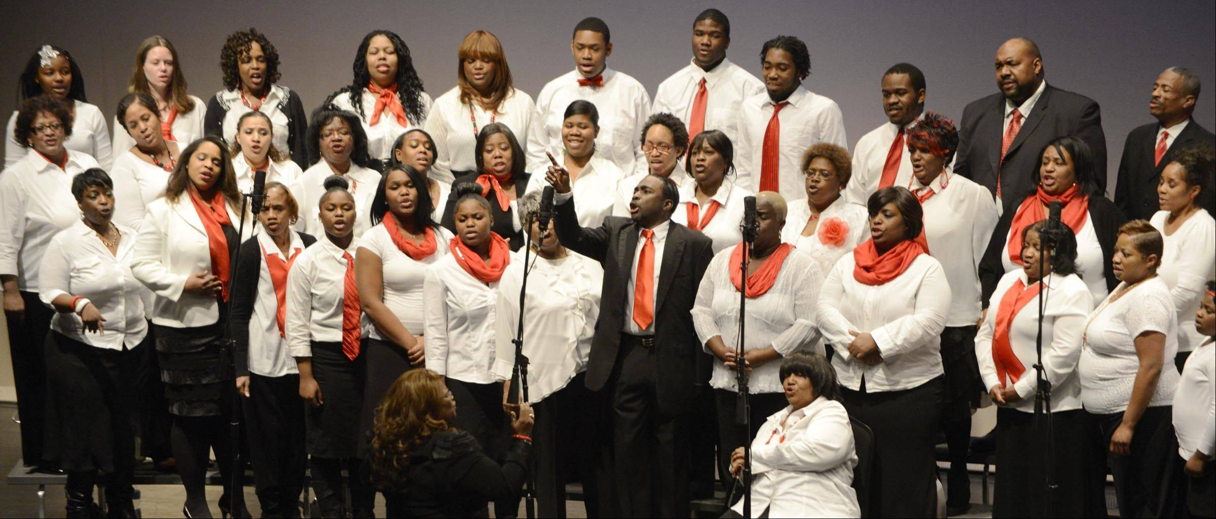 The Elgin Community Choir performs Sunday during the 29th Annual Dr. Martin Luther King, Jr. program at the Hemmens Auditorium in Elgin.