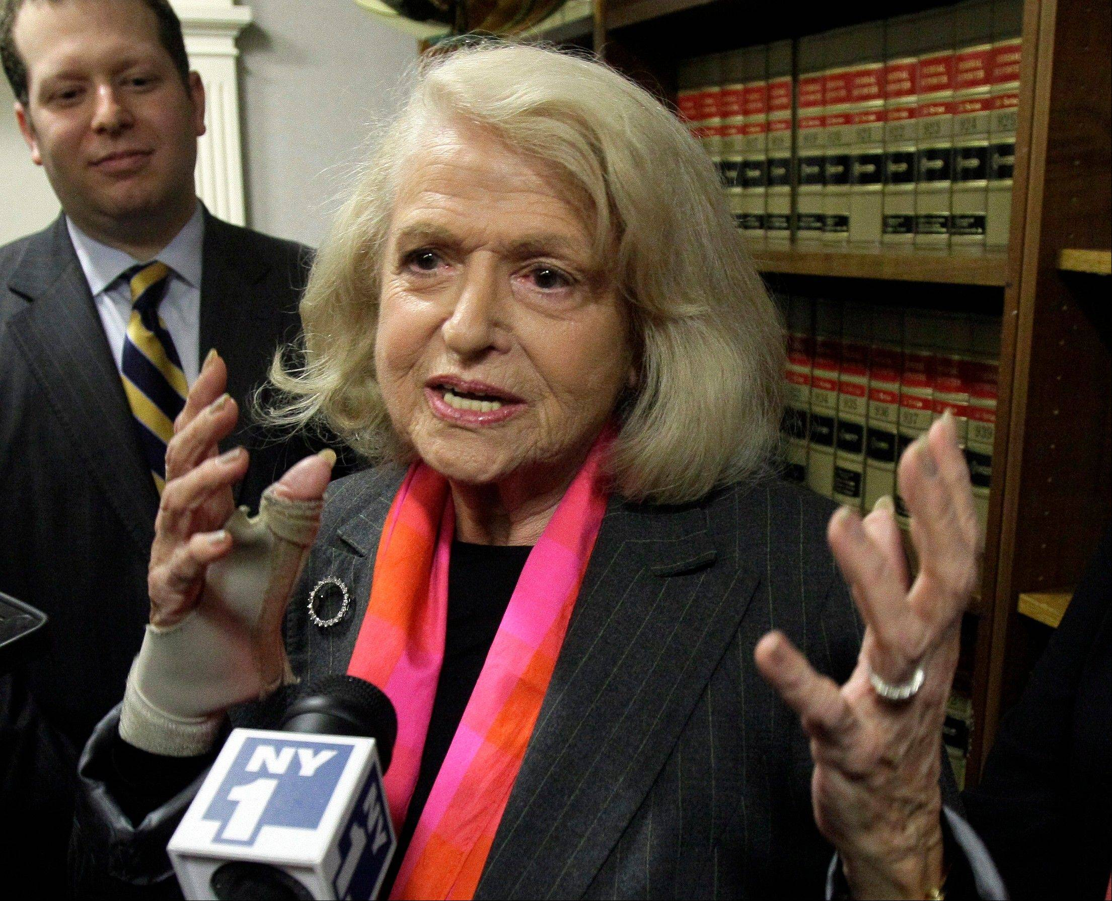 Edith Windsor, seen here in 2012, had to pay estate taxes after her lesbian spouse died. When it comes to things like estate taxes, the federal recognition of same-sex marriage will help legally married gay and lesbian couples.