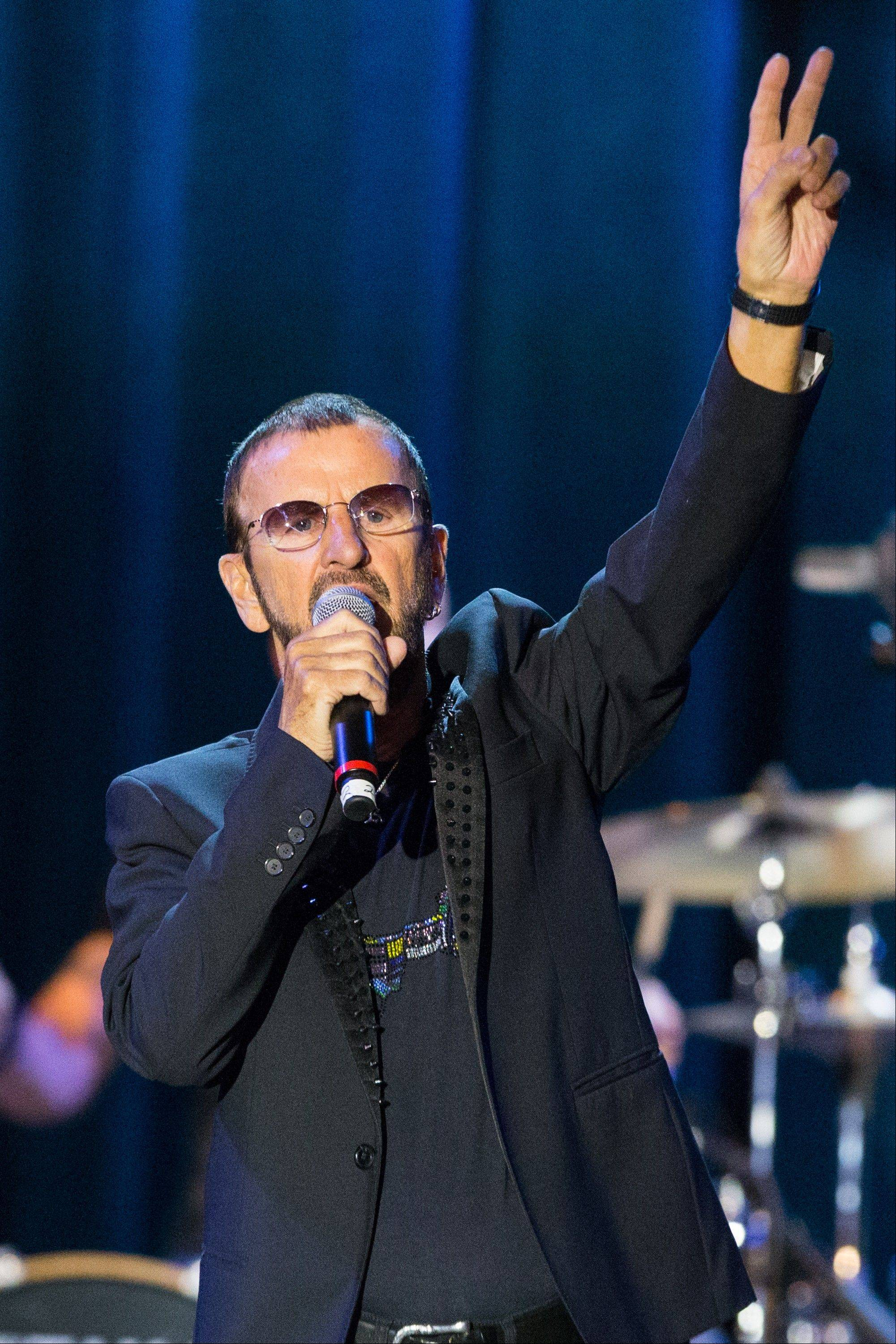 "Musician Ringo Starr performs onstage during the David Lynch Foundation Honors Ringo Star ""A Lifetime of Peace & Love"" event held at the El Rey Theatre on Monday in Los Angeles."