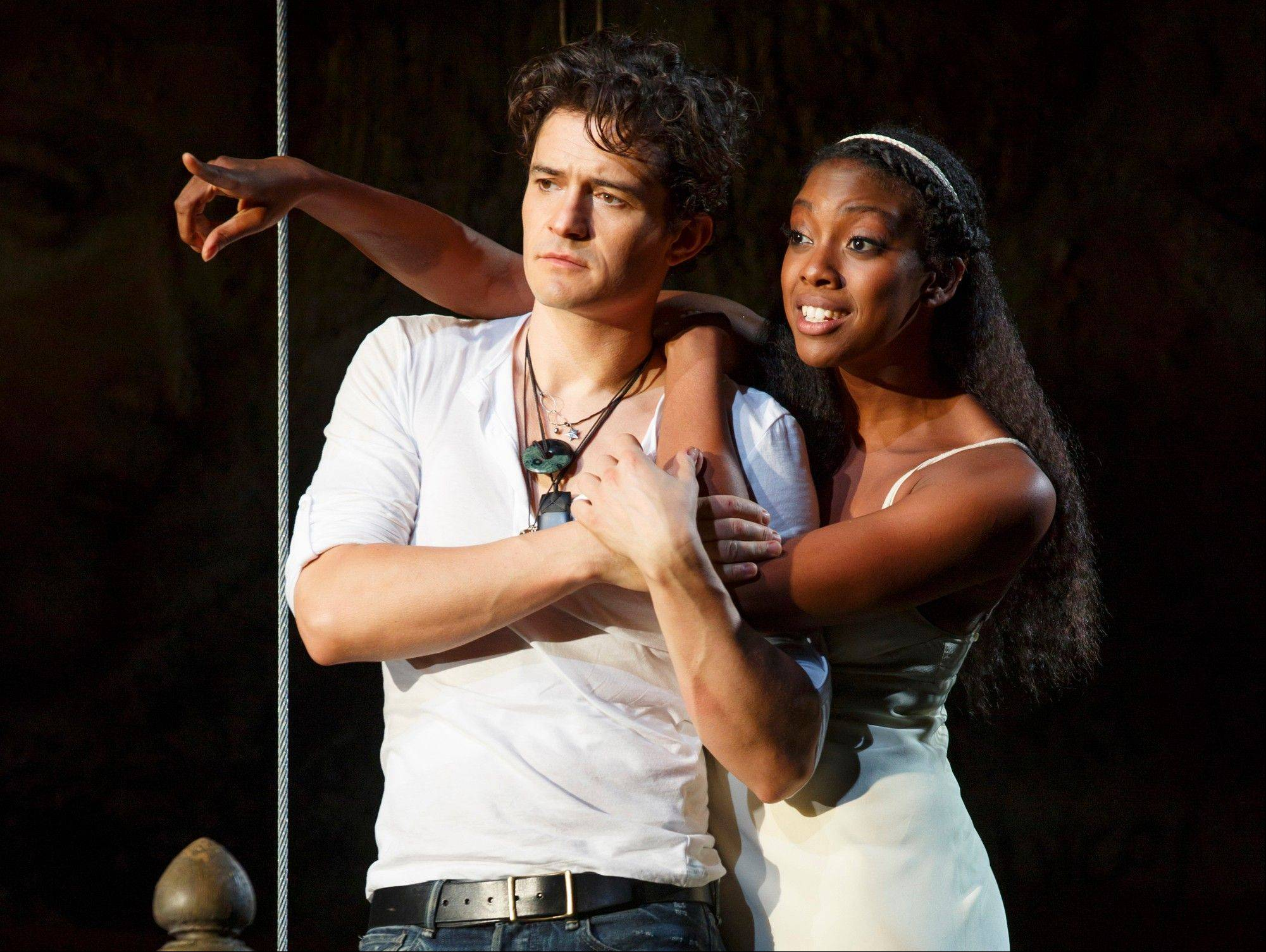 "Orlando Bloom and Condola Rashad perform ""Romeo and Juliet"" in New York. Content provider Screenvision and the new company BroadwayHD have teamed up to broadcast the recent production to movie theaters across the country in February."