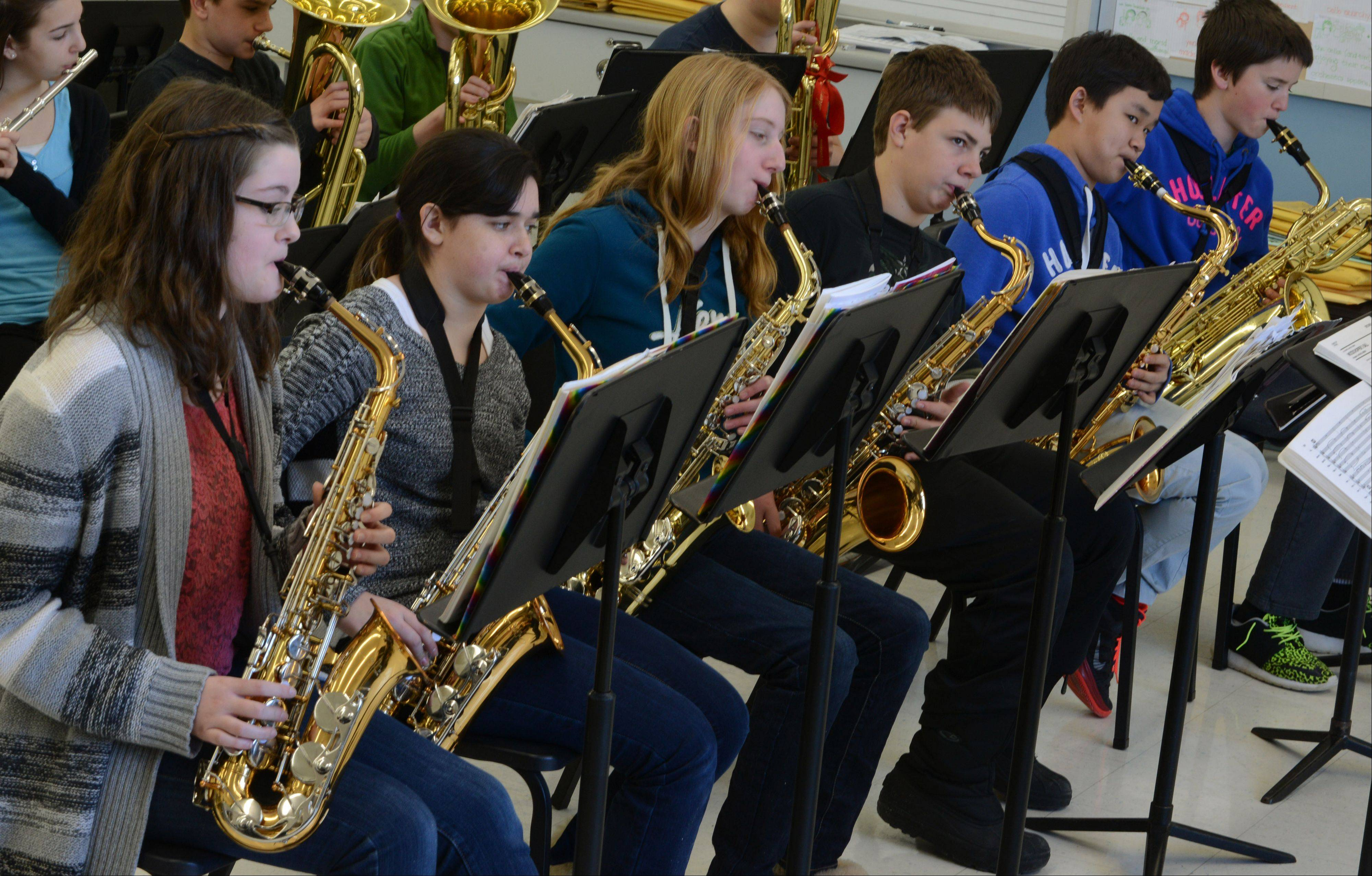 Oak Grove Middle School students from Green Oaks play for Libertyville High School's jazz director Tim Barclay during a clinic at Tuesday's Jazz Festival at Libertyville High School. Students took the stage in the afternoon for performances following the clinics.