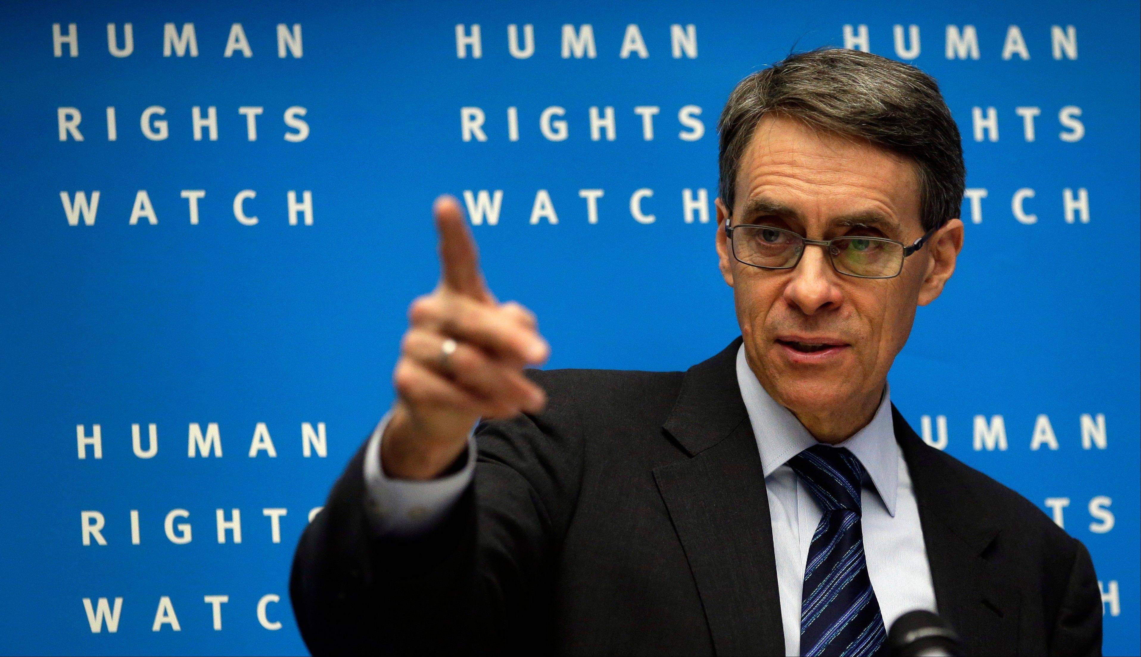 Kenneth Roth, Executive Director of Human Rights Watch, speaks during the annual press conference of the nongovernmental organization in Berlin, Germany, Tuesday, Jan. 21, 2014.