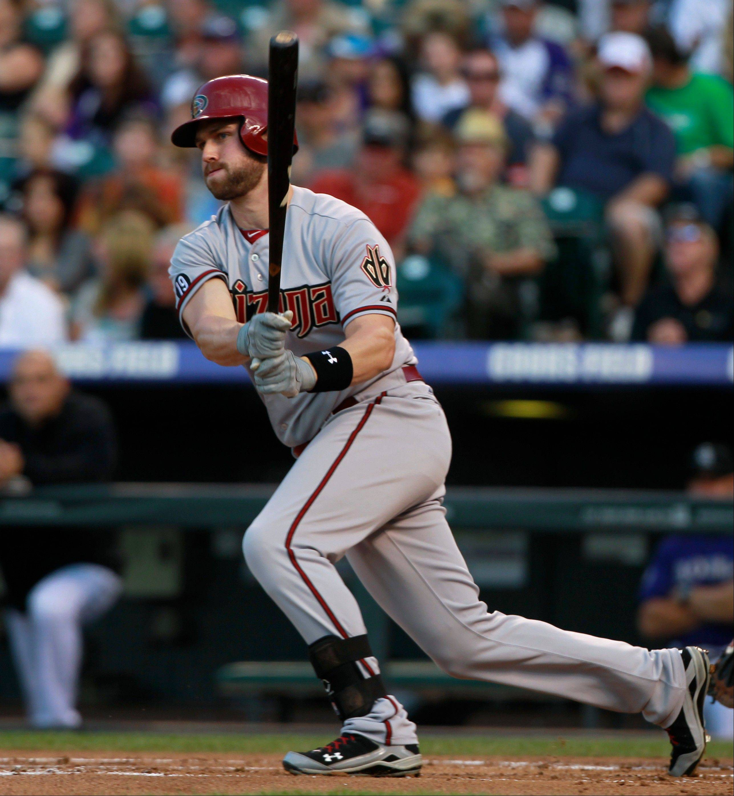 The Diamondbacks' Matt Davidson grounds out against the Colorado Rockies in Denver.