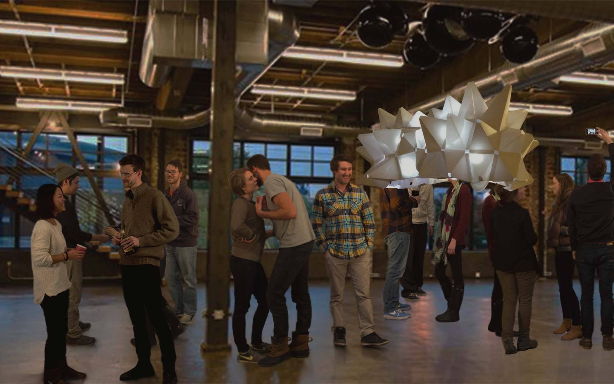 The Aurasphere (right) suspends above a crowd at the Leftbank Annex in Portland, Oregon.