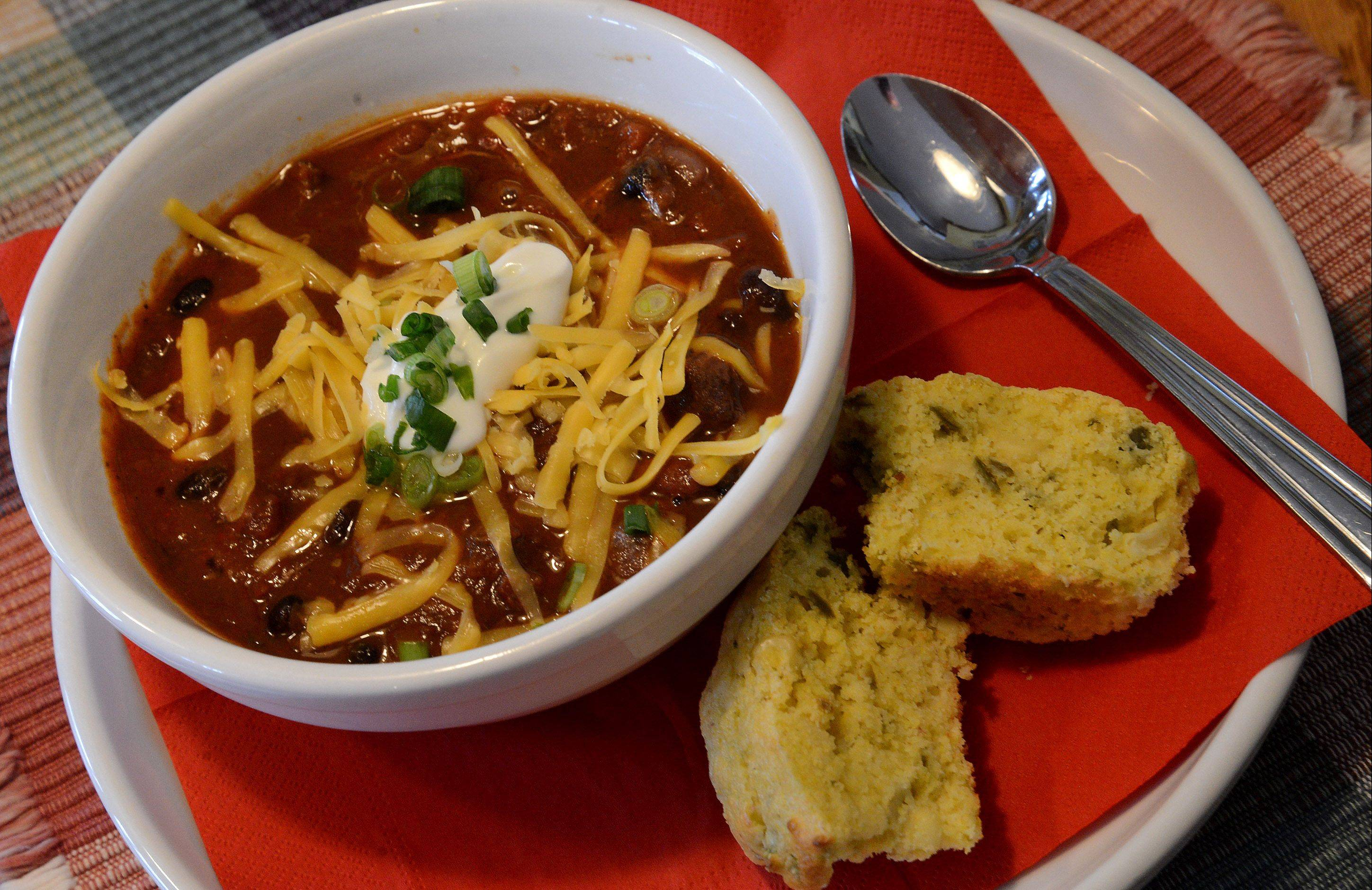 Dried beans or canned can be used in Penny Kazmier's Beef and Two Bean Chili, a recipe inspired by a class she took at Stonewall Kitchen in York, Maine.