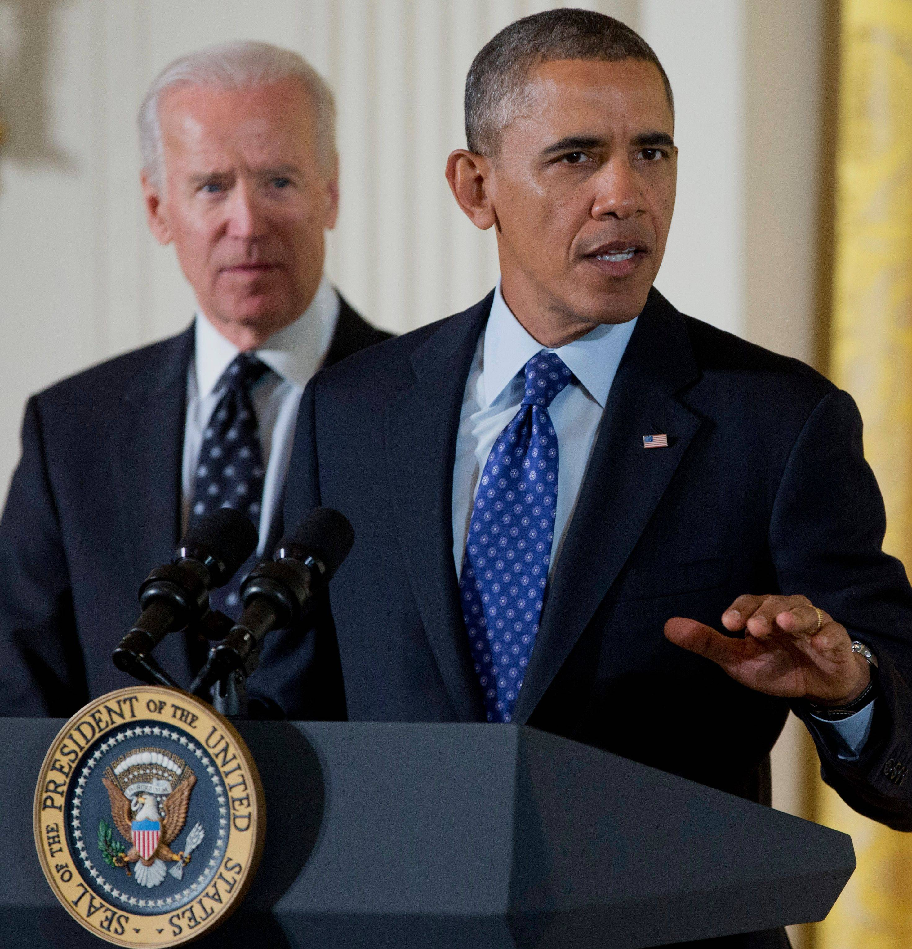 President Barack Obama, accompanied by Vice President Joe Biden, focused on the problem of campus sexual assaults Wednesday before signing a memorandum creating a task force to respond to the issue.