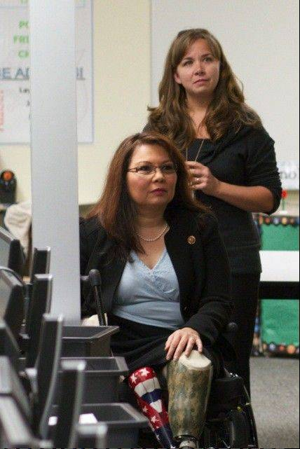 Addams Junior High science teacher Michelle Burke, right, with 8th District Congresswoman Tammy Duckworth at a FUSE program event last October.