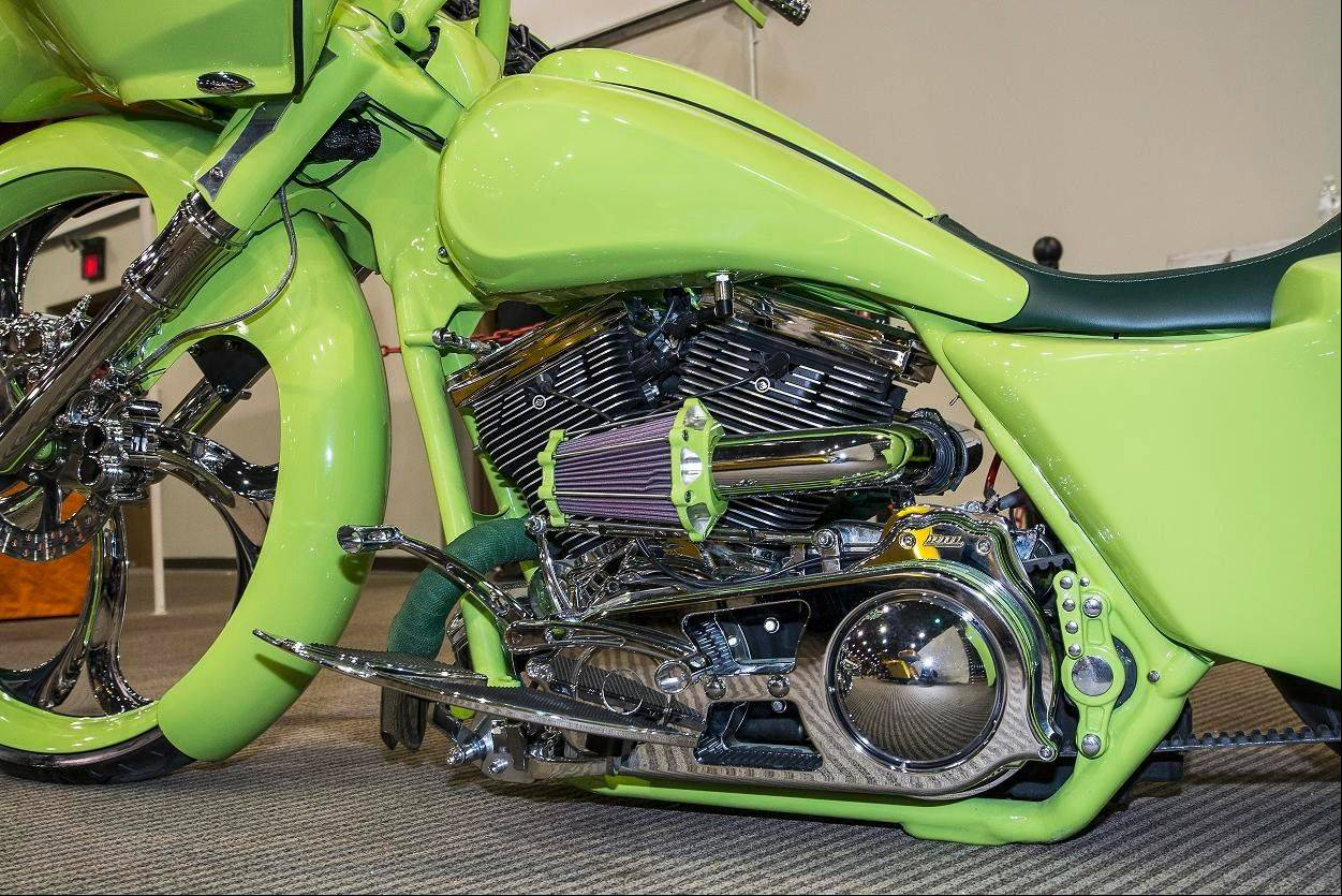 The only component left stock on this Harley-Davidson was the transmission and 103-cubic-inch engine, which received custom headers to reroute the exhaust toward the front.