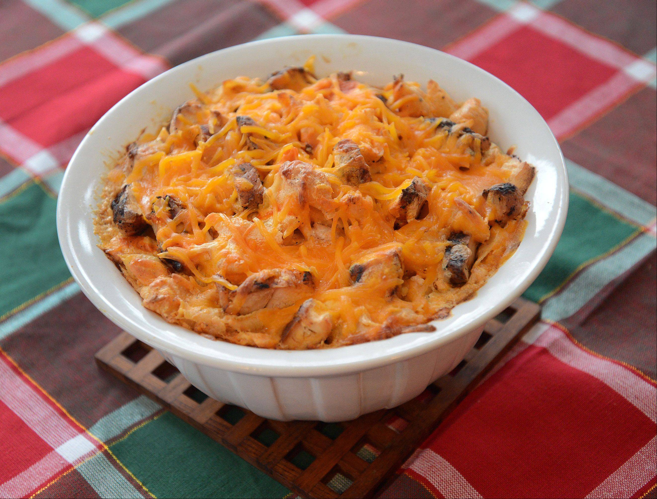 A half cup of hot sauce spices up Patty Nicpon's Buffalo-style macaroni and cheese.