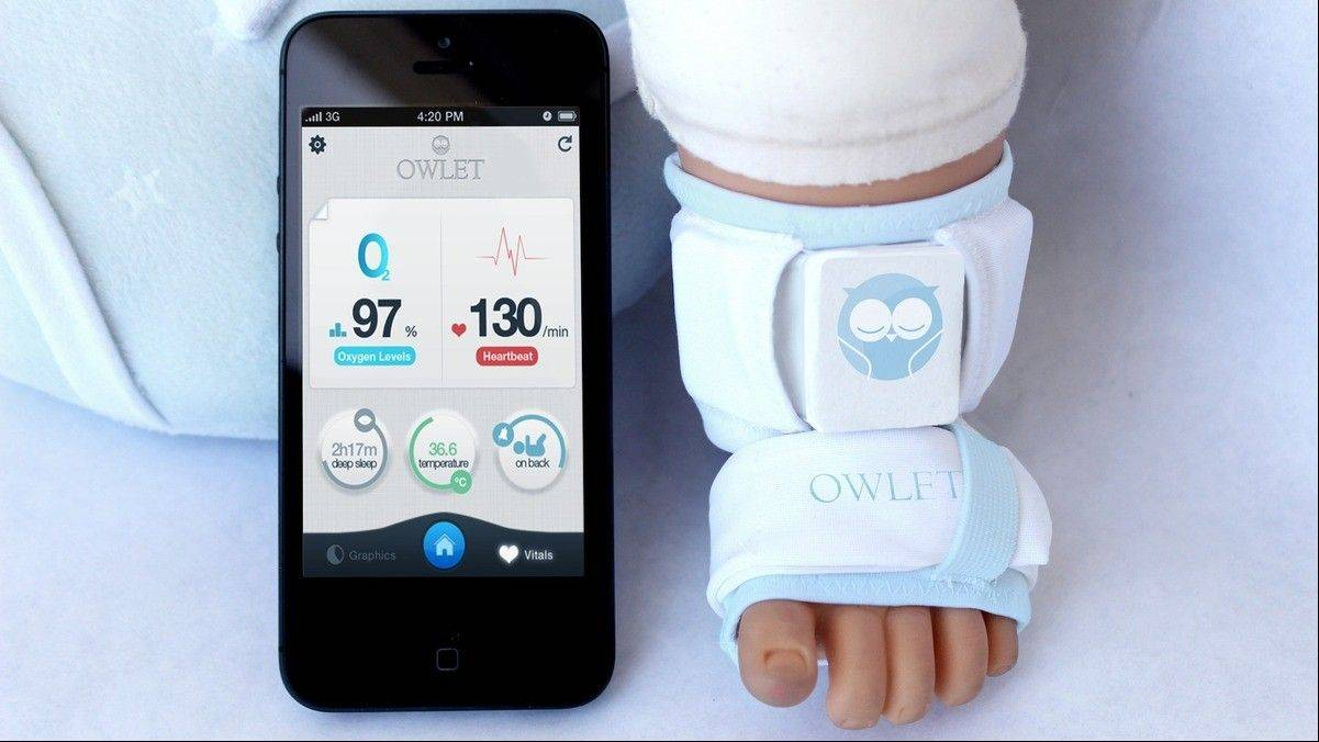 Owlet Wearable Baby Monitor tracks your baby's heart rate, oxygen levels, temperature and sleep habits all visible through an app on parent's phones or tablets. The data can been analyzed and charted to help parents notice trends in their baby or alert them in case of an emergency. An adjustable strap allows parents to use the wearable baby monitor from birth through about the first year of life. Cost: $250.